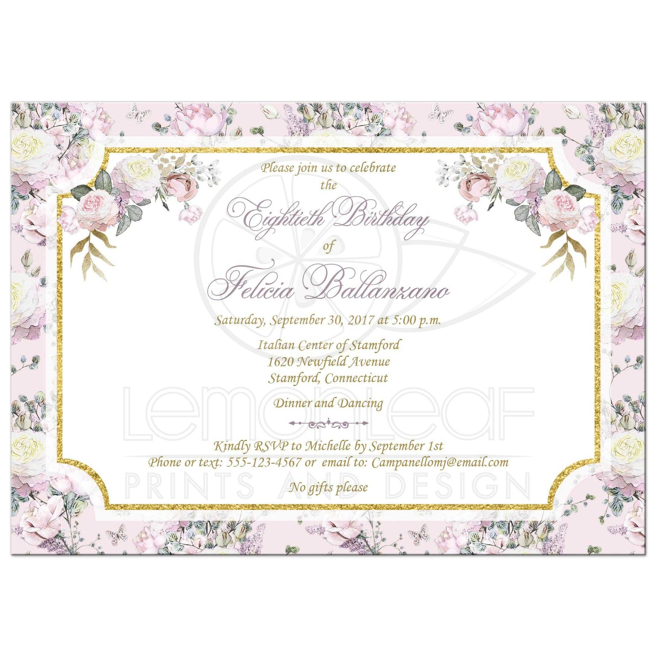 Blush Pink Gold White Purple Roses And Lilacs 80th Birthday Party Invitation With