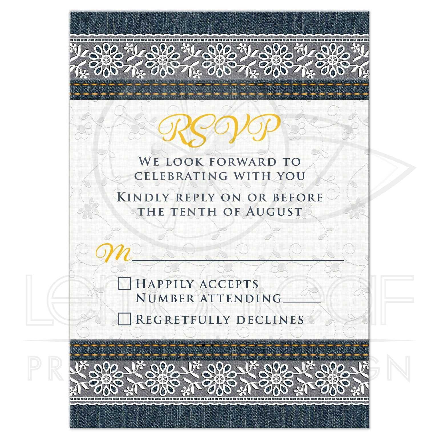 Denim and Lace Wedding RSVP Card