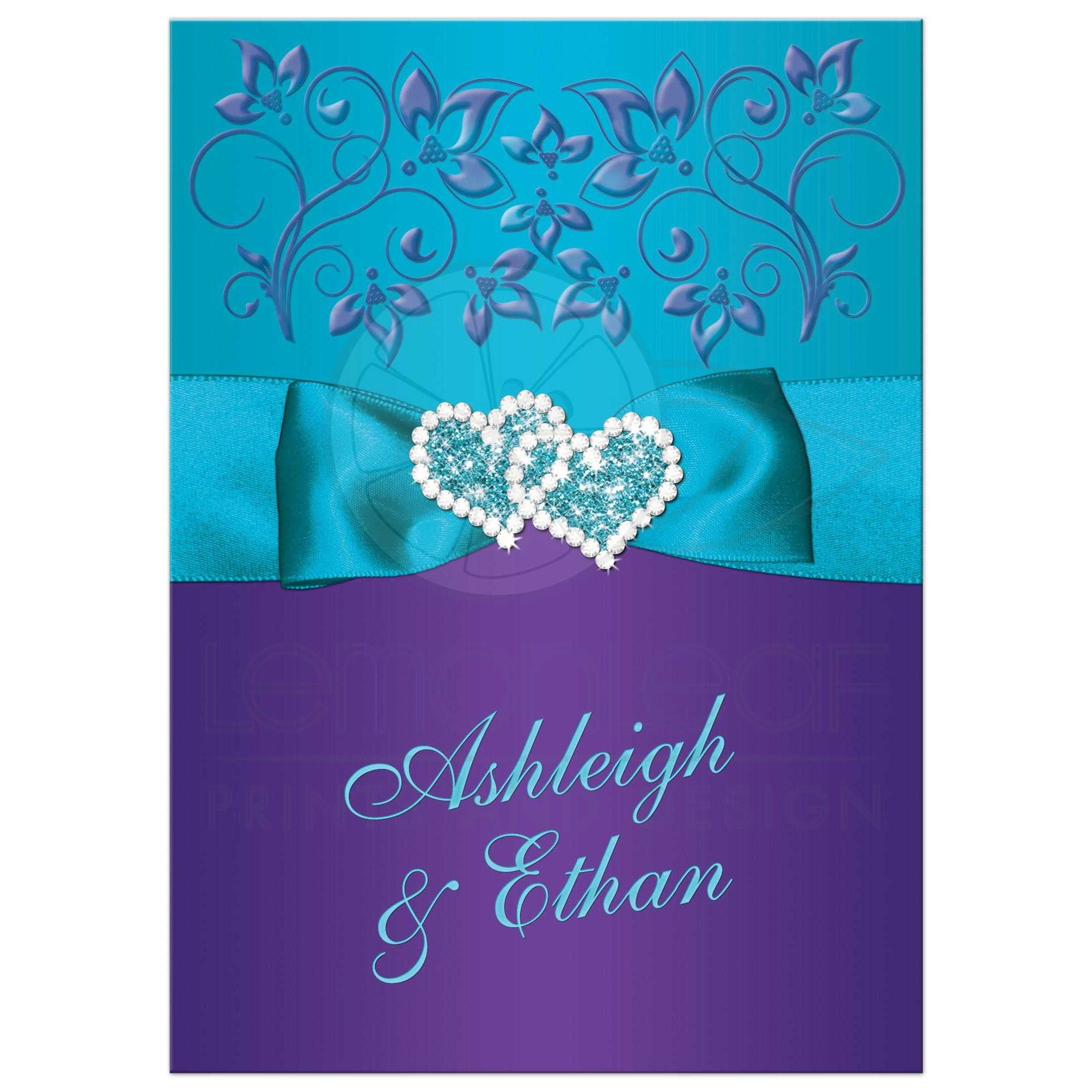 Wedding Invitation Purple Teal Blue Floral Printed Ribbon Bow