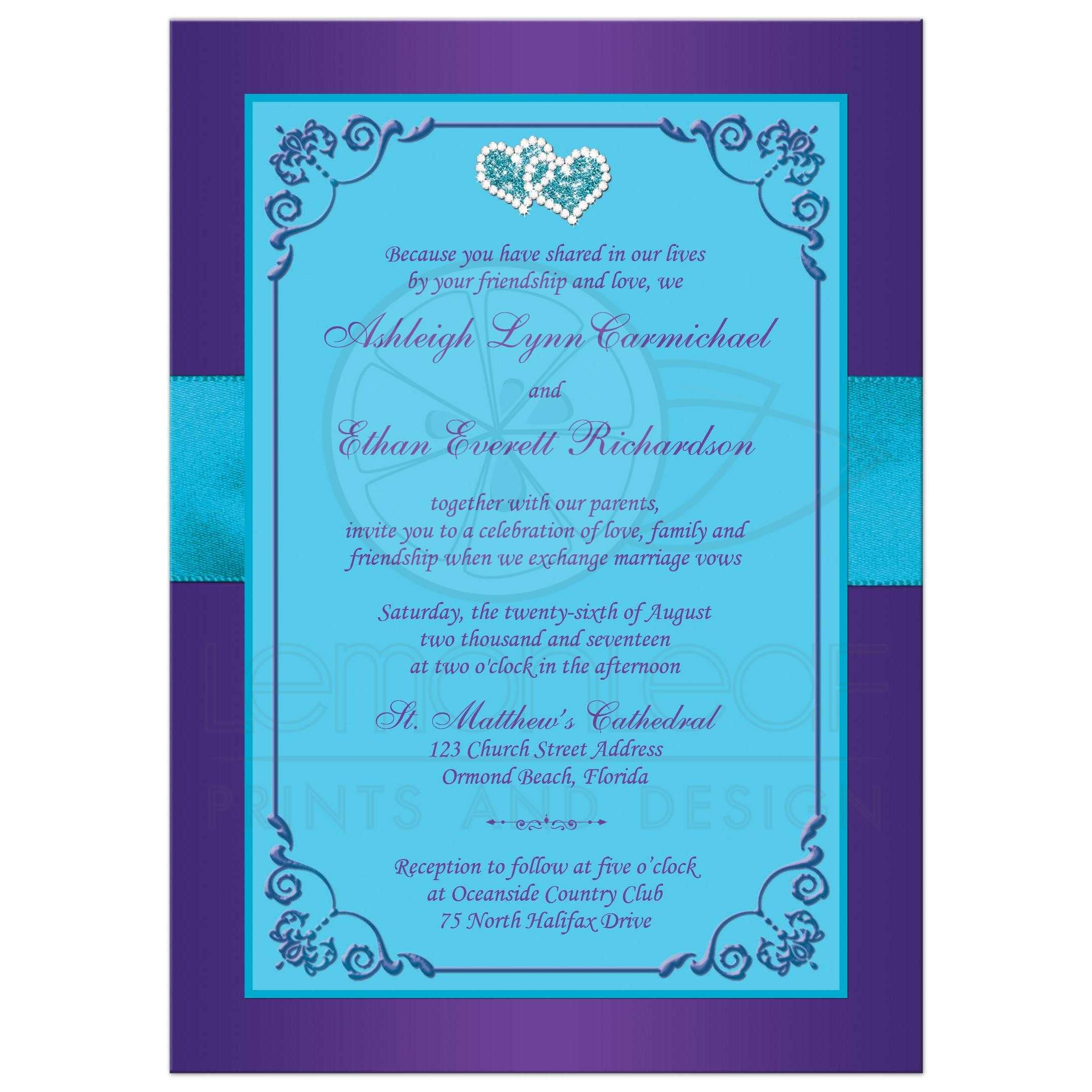 Wedding Invitation | Purple, Teal Blue Floral | PRINTED Ribbon/Bow ...