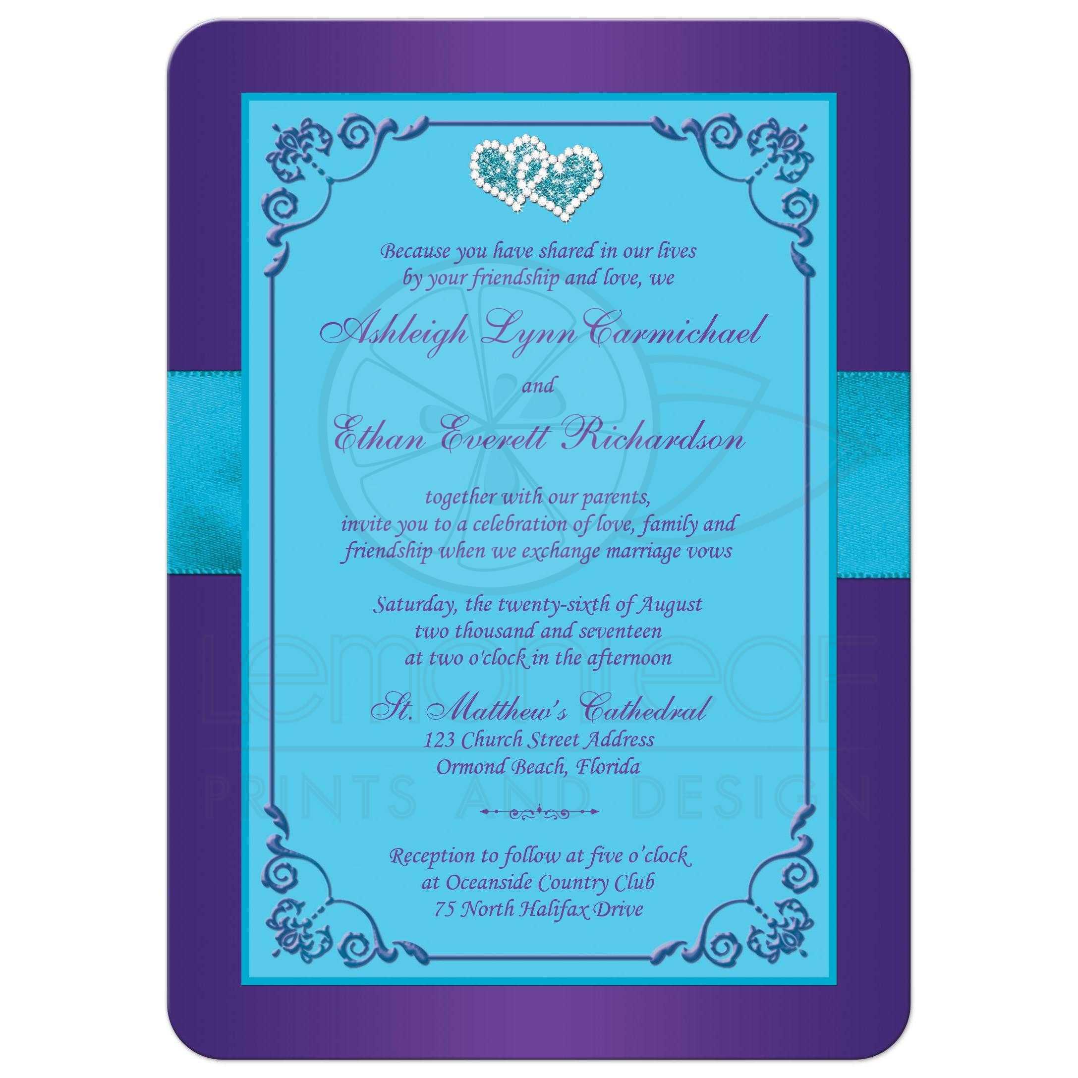 Wedding Invitation   Purple, Teal Blue Floral   PRINTED ...
