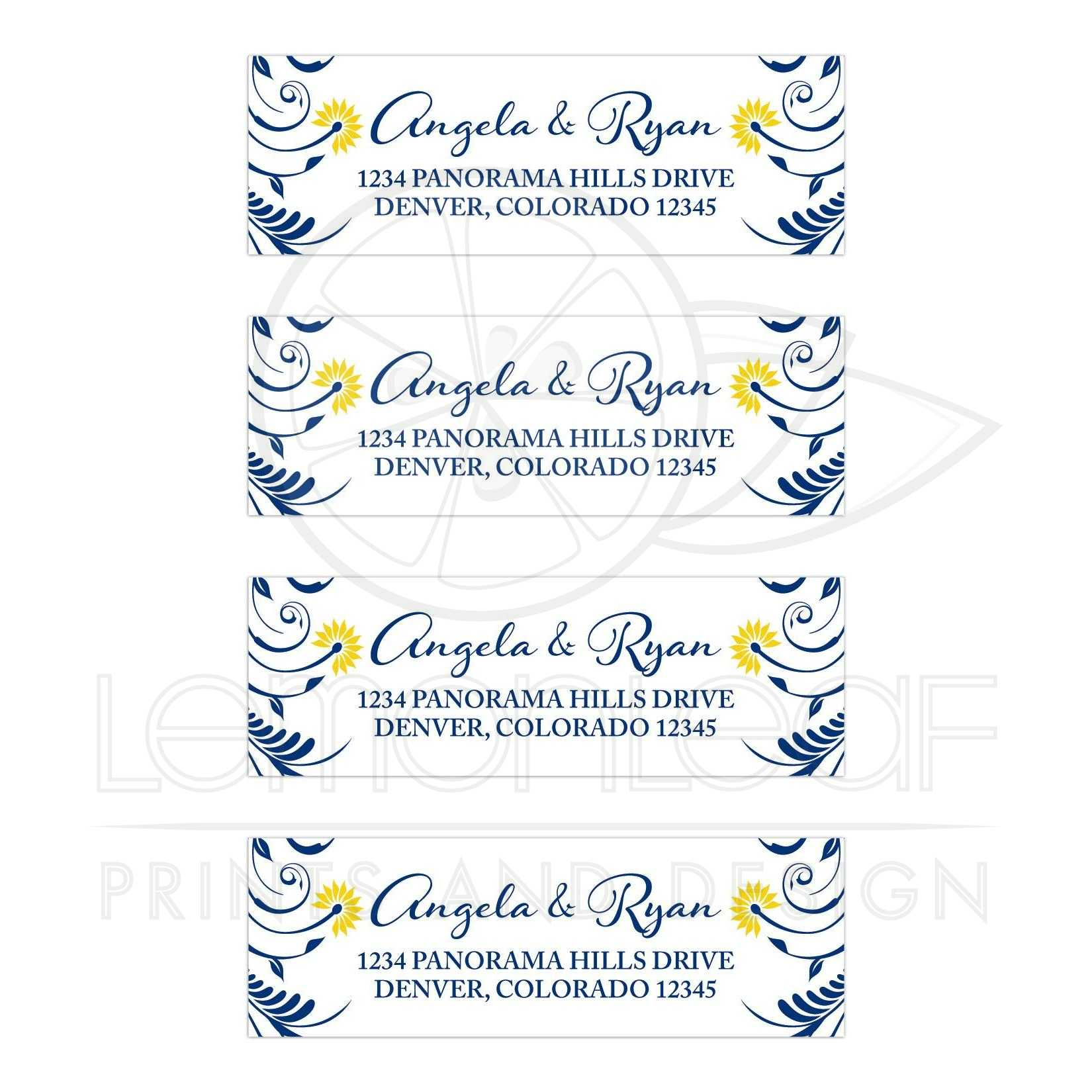 navy blue yellow floral wedding address labels