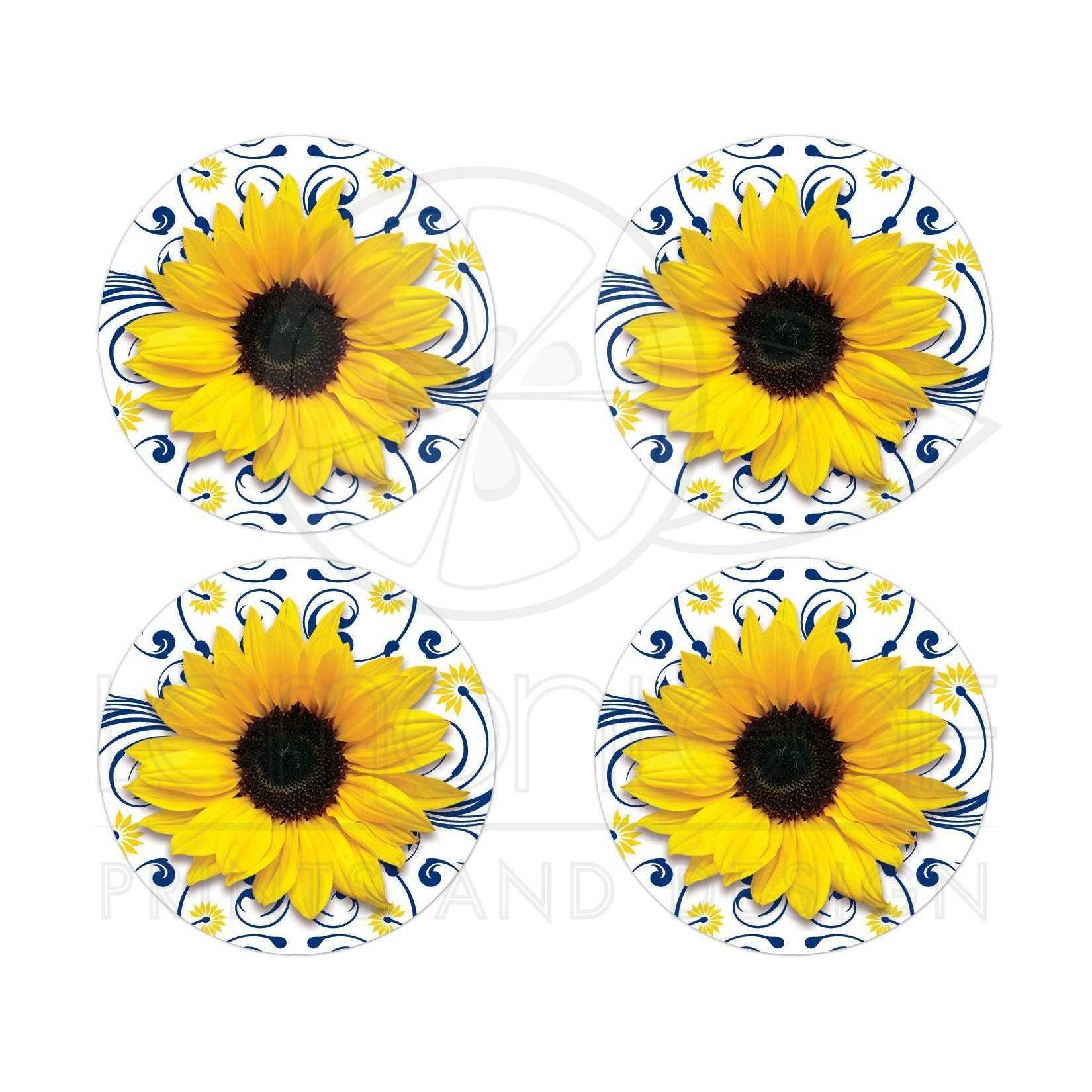 Navy Blue Yellow Sunflower Wedding Envelope Seals Or Stickers
