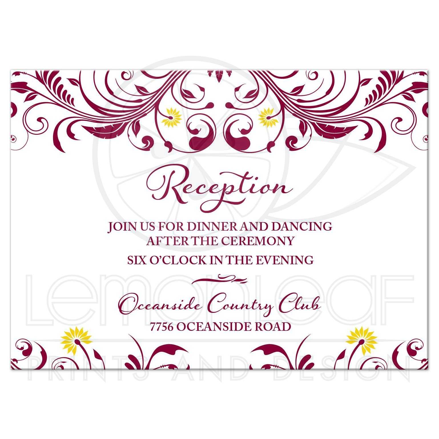 Burgundy Yellow Floral Wedding Reception Insert Card