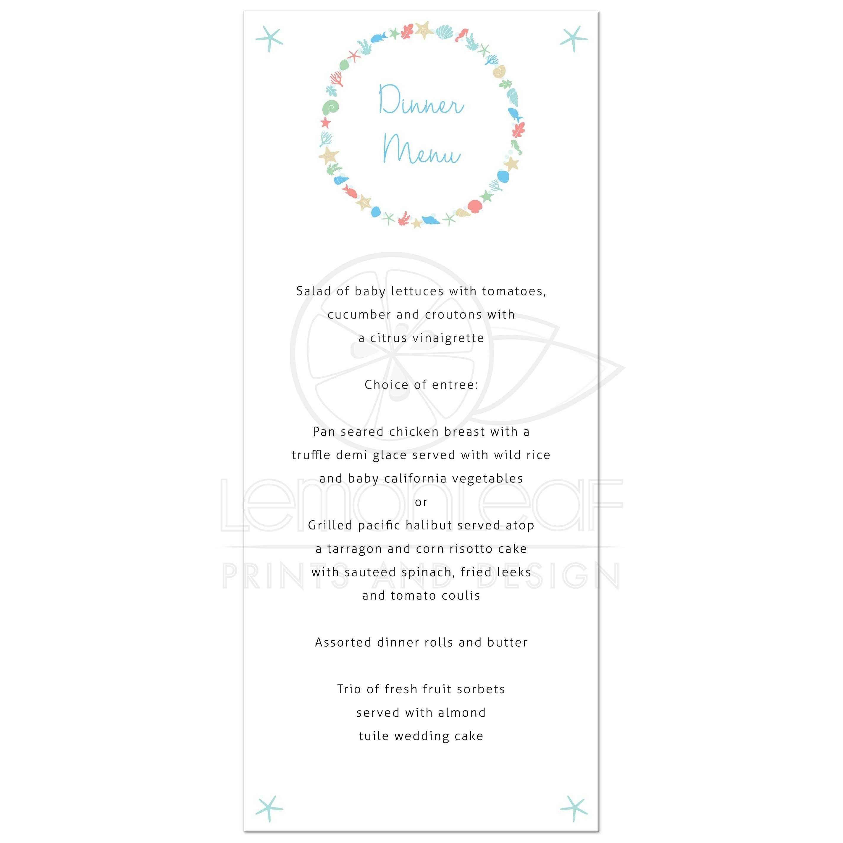 Beach Wedding Reception Food Ideas: Nautical Ocean Wreath Destination Beach Wedding Menu Card