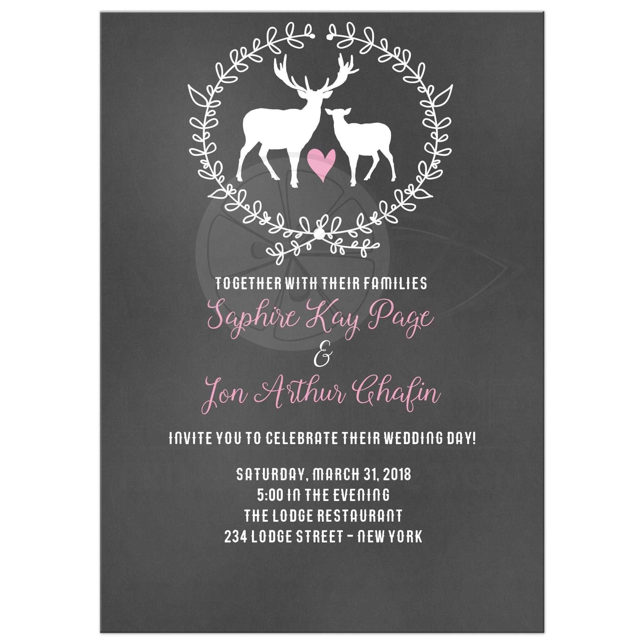 deer buck and doe chalkboard wedding invitations