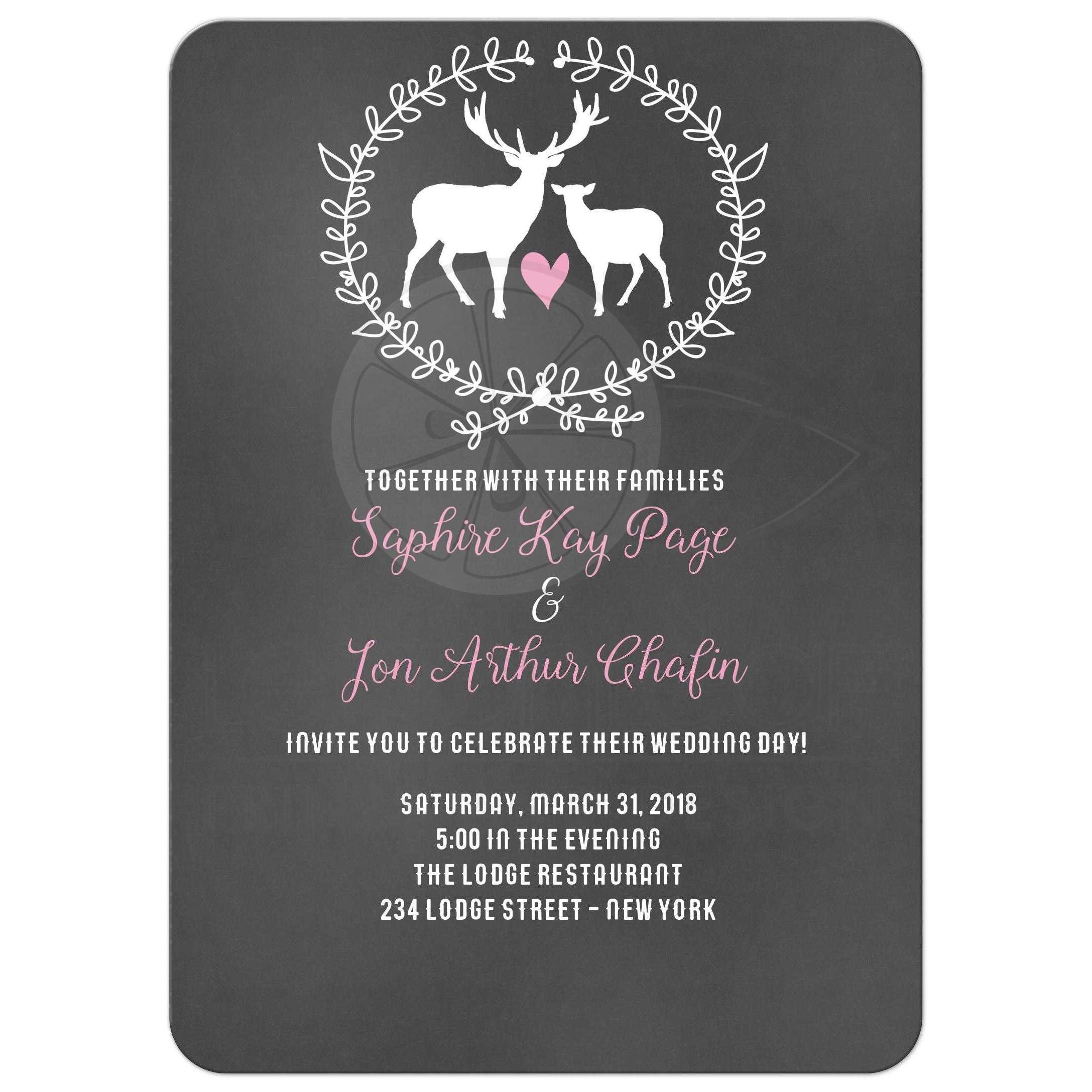 Deer Buck and Doe Chalkboard Wedding Invitations