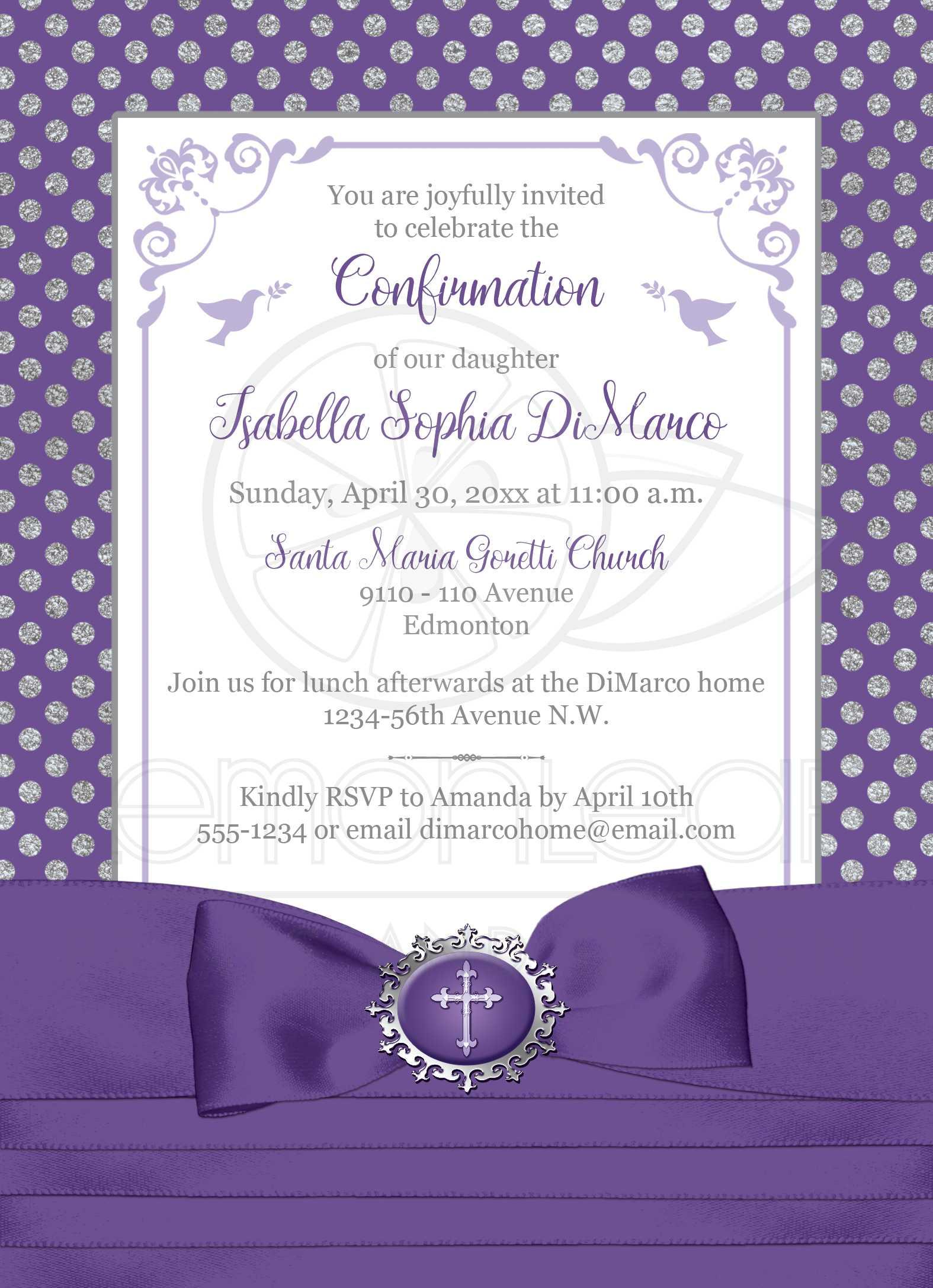 Purple, Silver, White Polka Dots Confirmation Invitation   PRINTED ...