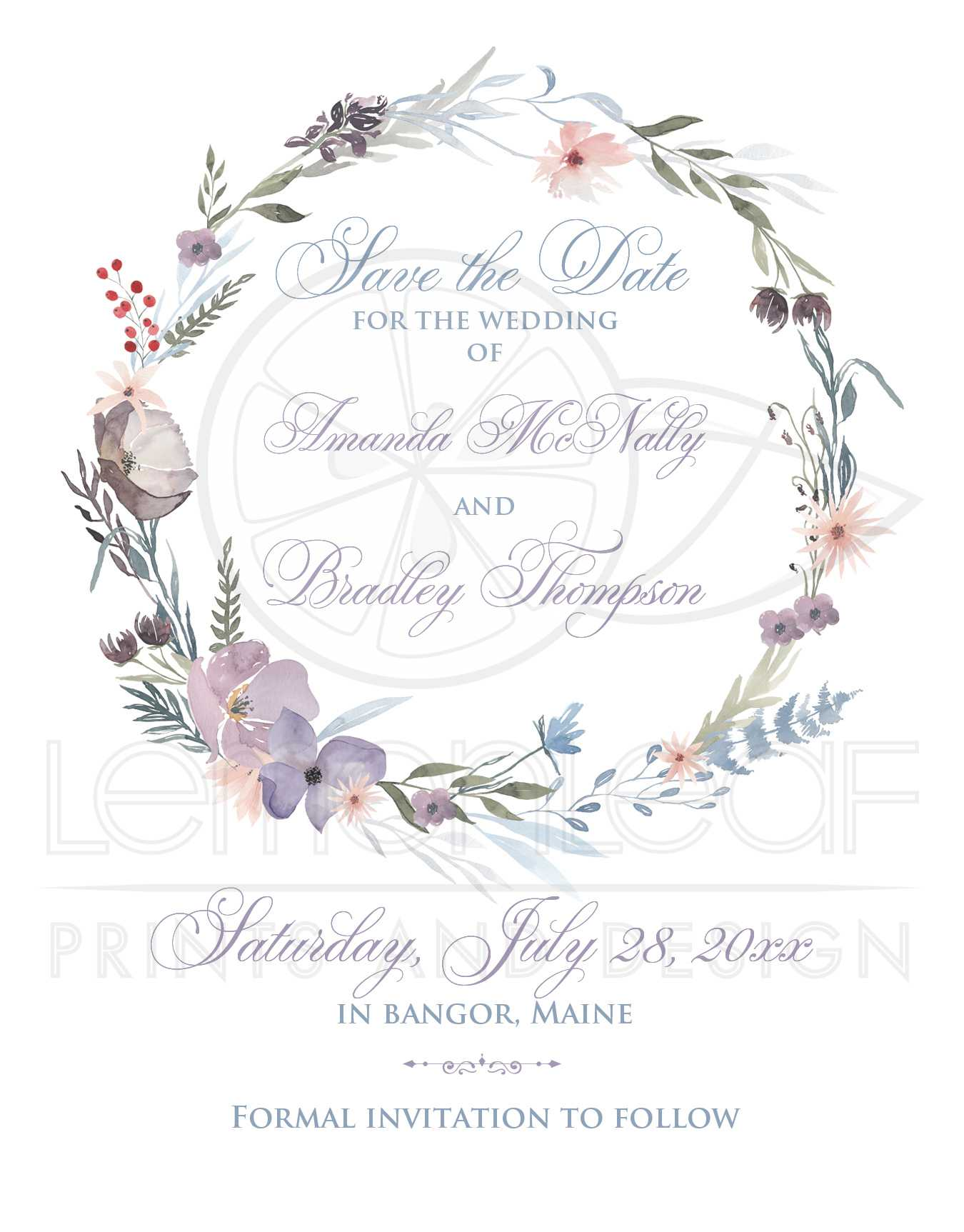 1d7a17f62e834 Bohemian Wildflowers Wedding Save the Date Card (PHOTO Optional) | Smoky  Blue, Plum, Lavender, Peach