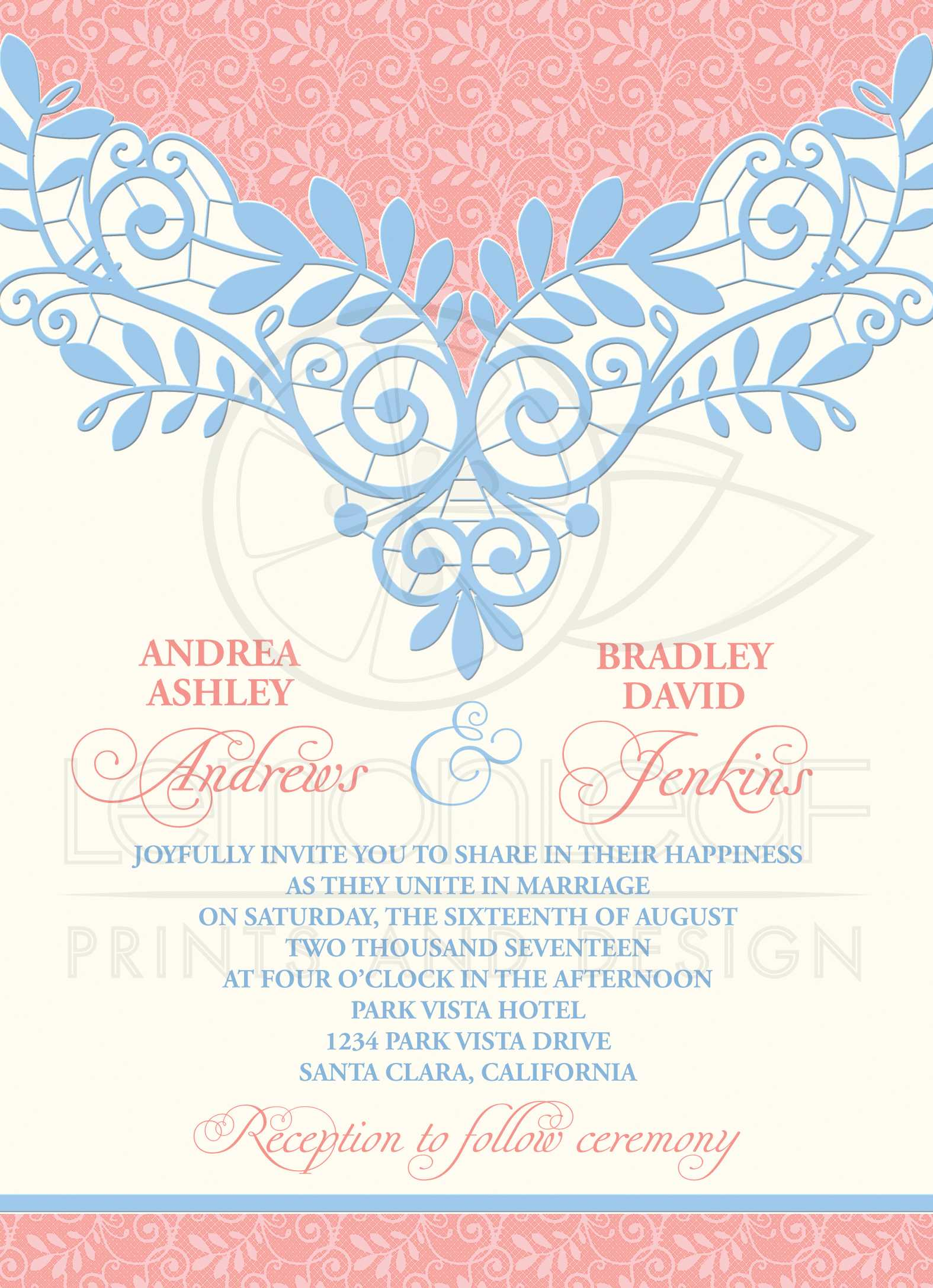 Coral Powder Blue Lace Wedding Invitation