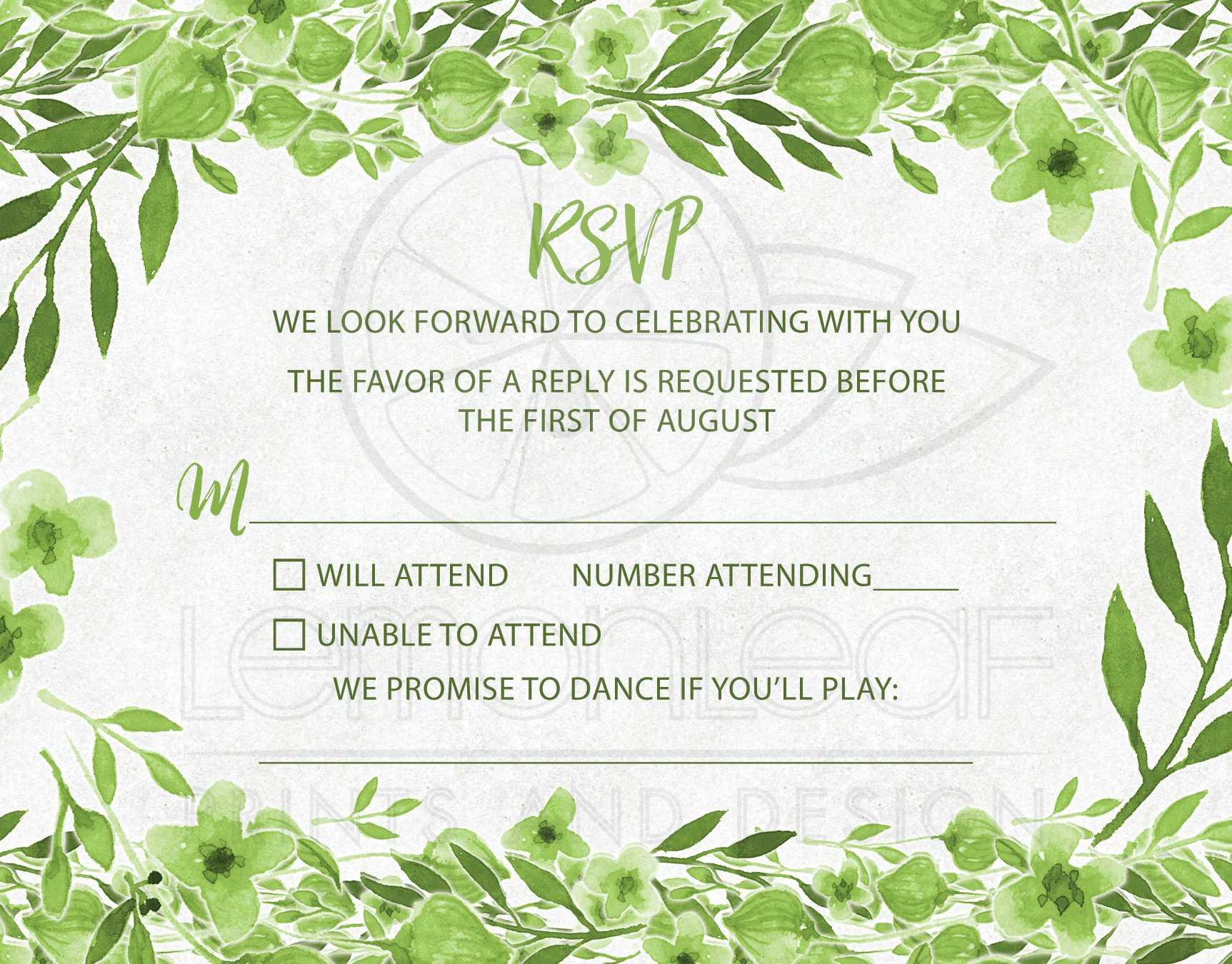 Greenery Botanical Foliage Wedding RSVP Card Green White Watercolor