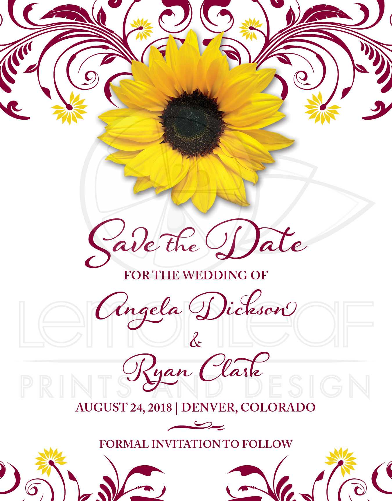 Pale Lemon Yellow Rose Personalized Wedding Save The Date Cards