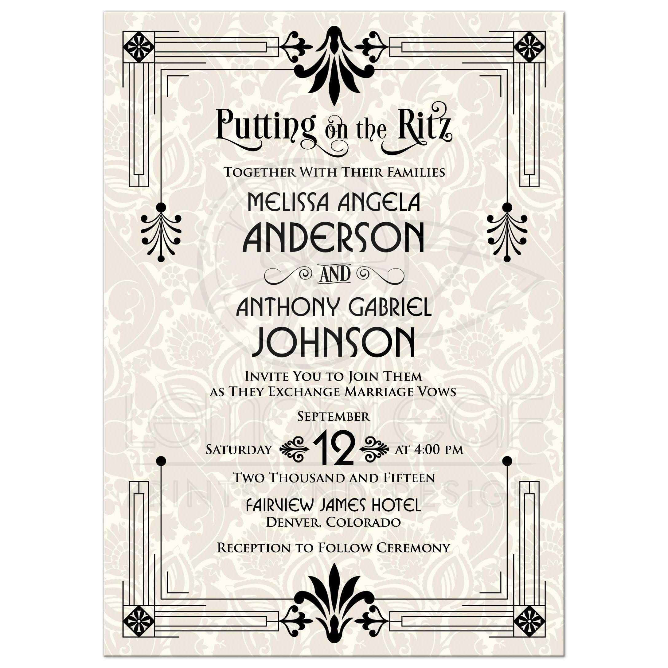 Wedding Invitation Roaring 20s Art Deco Black Ivory