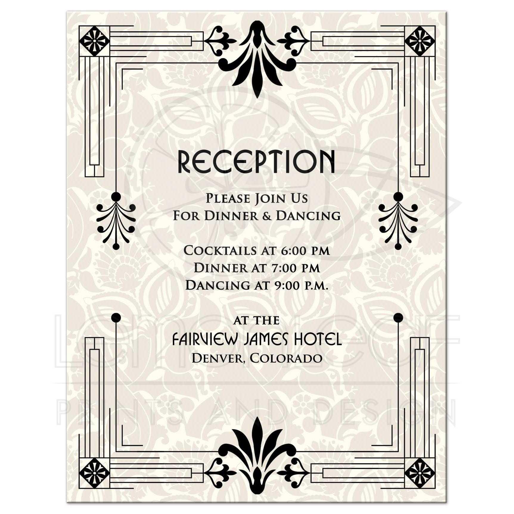 Wedding Reception Card Roaring 20s Art Deco Black Ivory