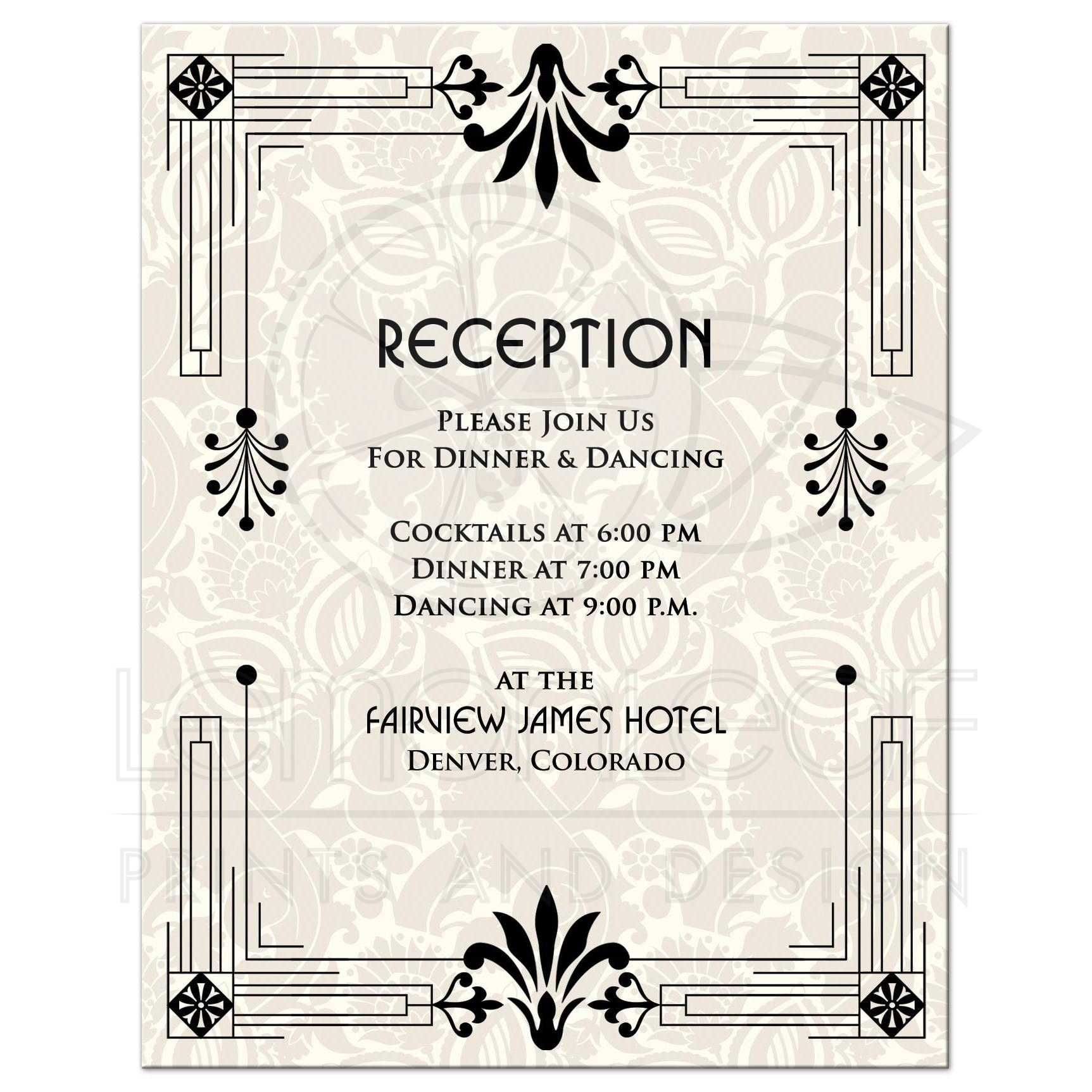 wedding reception card roaring 20s art deco black ivory front - Wedding Reception Invites