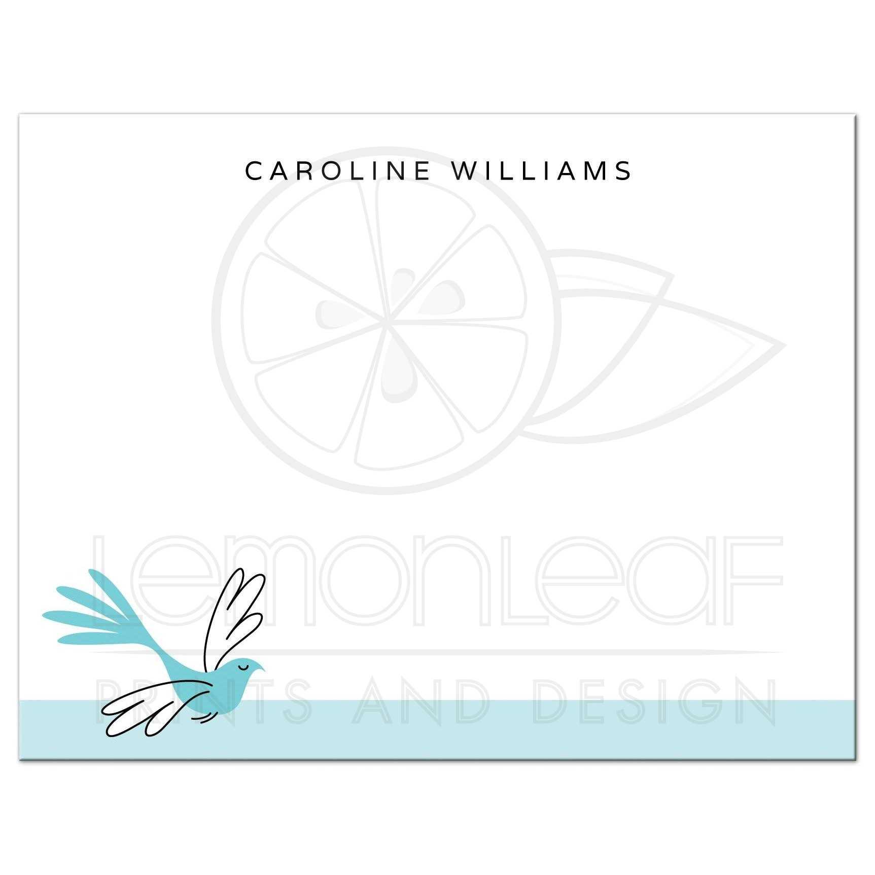elegant blue bird flat personalized name notecard for women