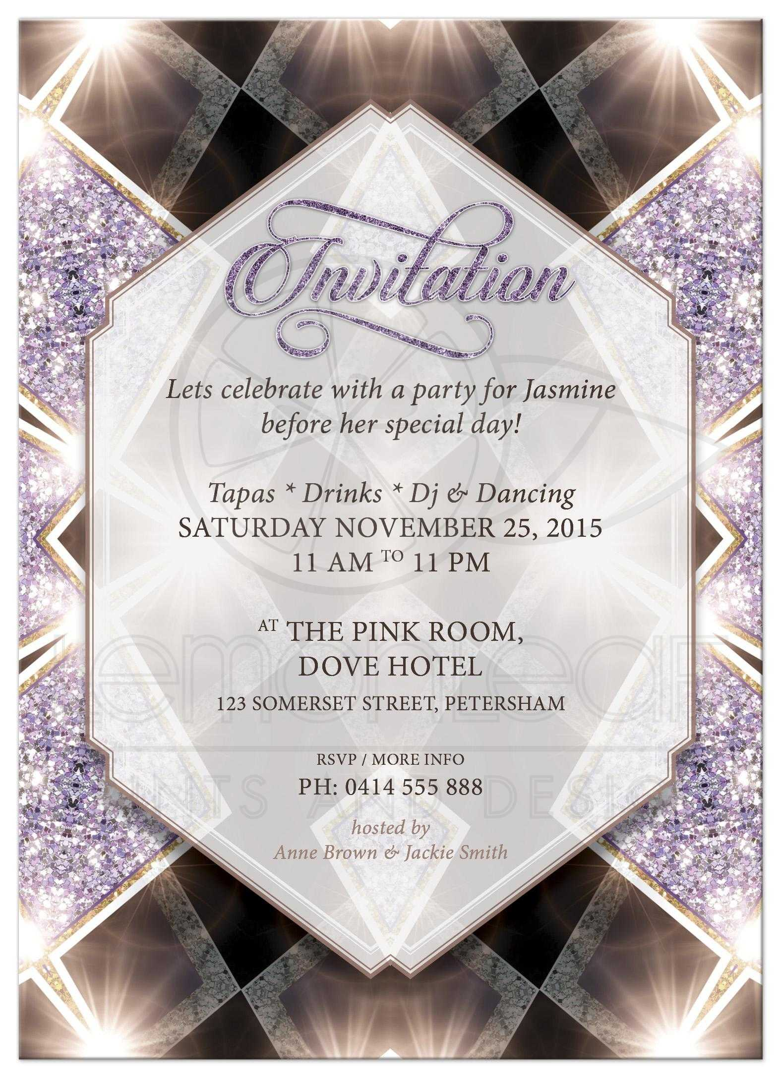 Purple art deco glitter bridal shower invitation purple sparkly art deco glam bridal shower invite filmwisefo