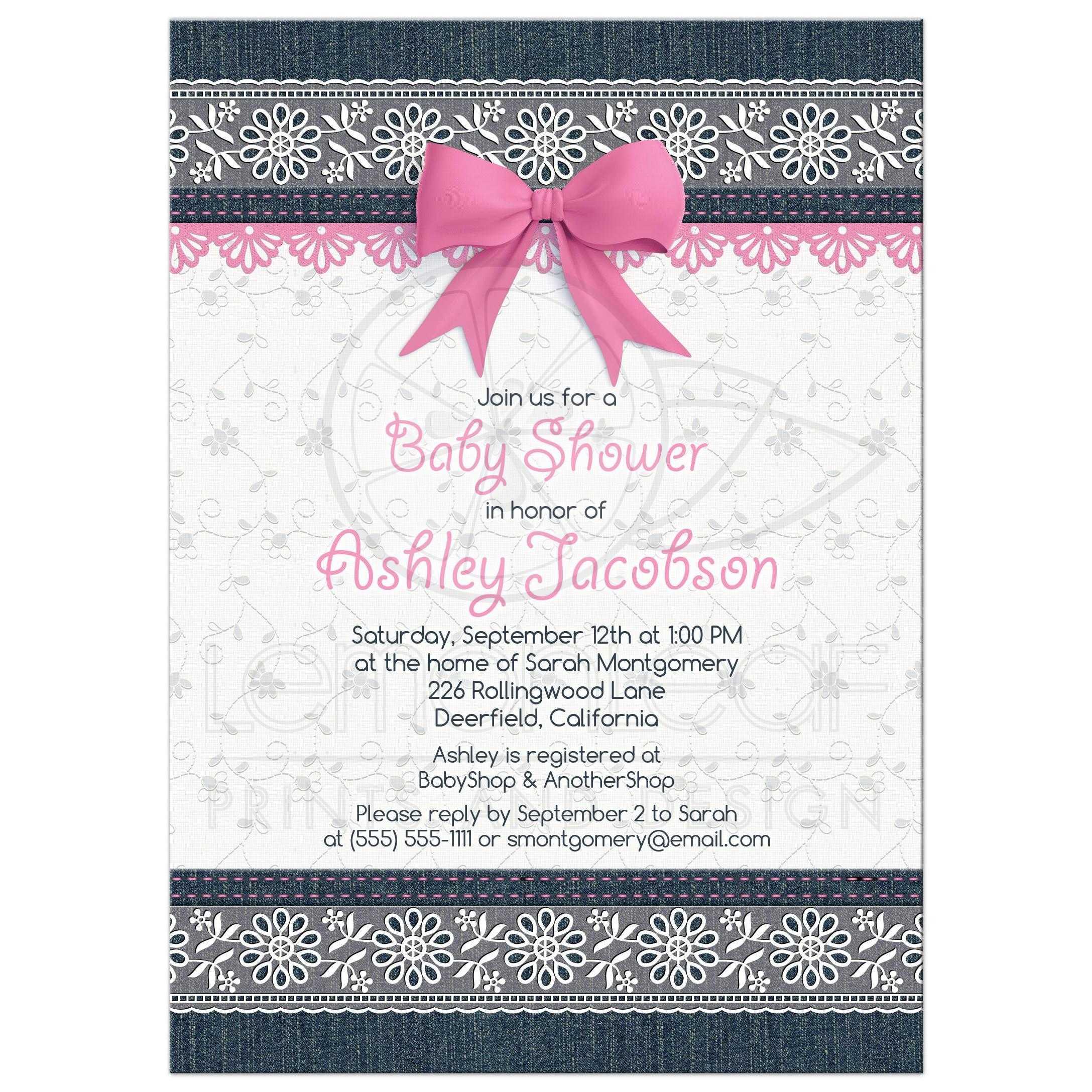 Lace Denim Baby Shower Invitation Pink Baby Girl
