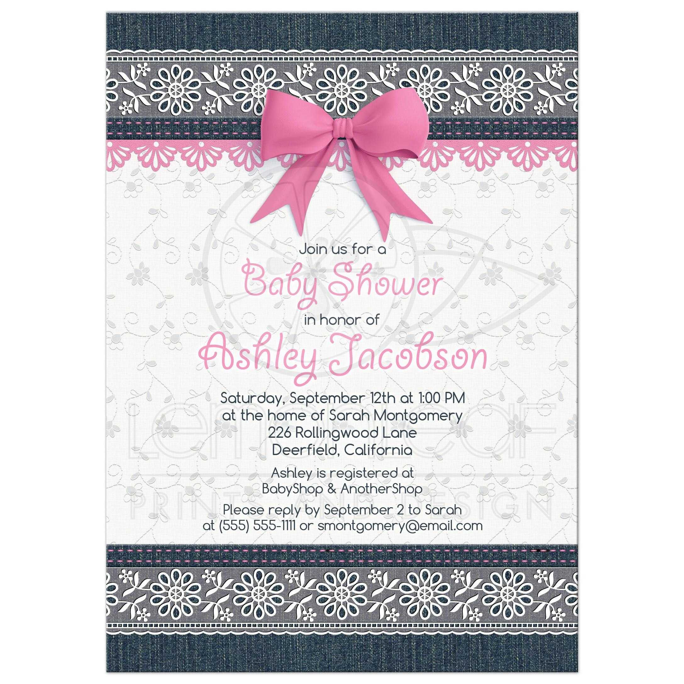 Lace Denim Baby Shower Invitation Pink Baby Girl