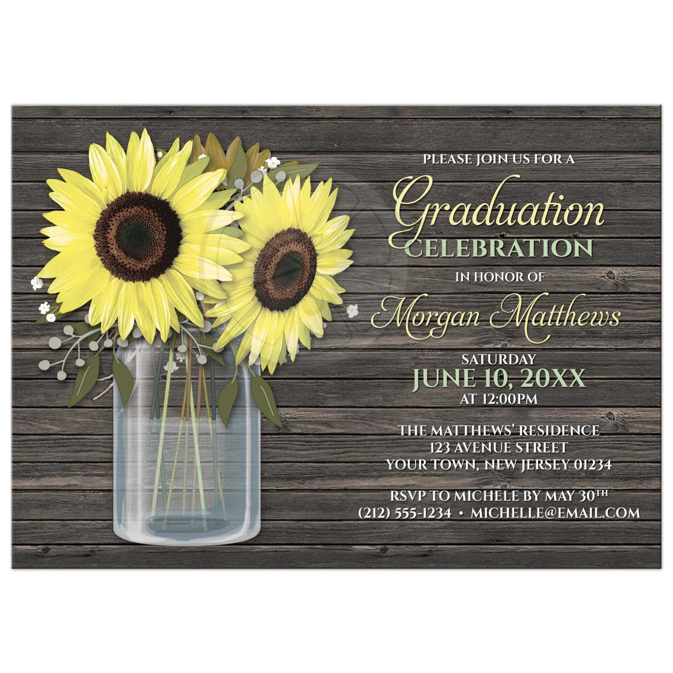 50020 Rectangle Rustic Sunflower Wood Mason Jar Graduation Invitations Jpg T 1493479825