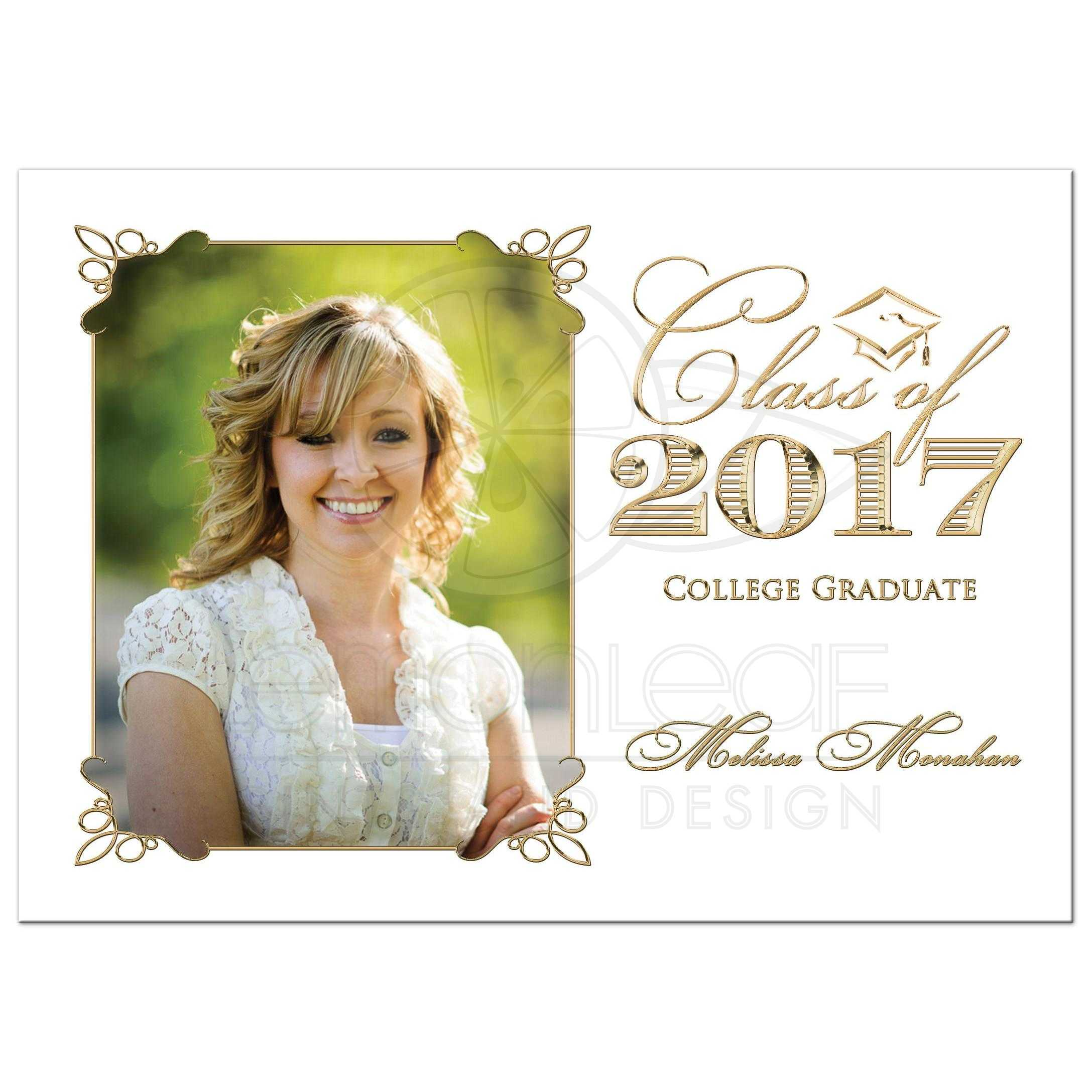 Graduation Party Invitation | Black, White, and Gold | Photo Template