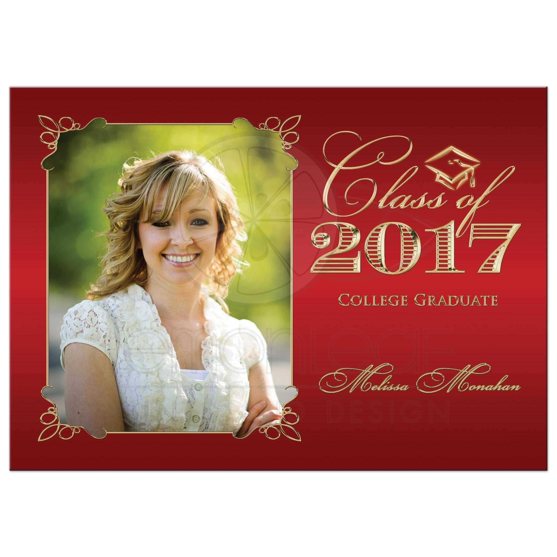 Graduation Party Invitation | Red and Gold | Photo Template