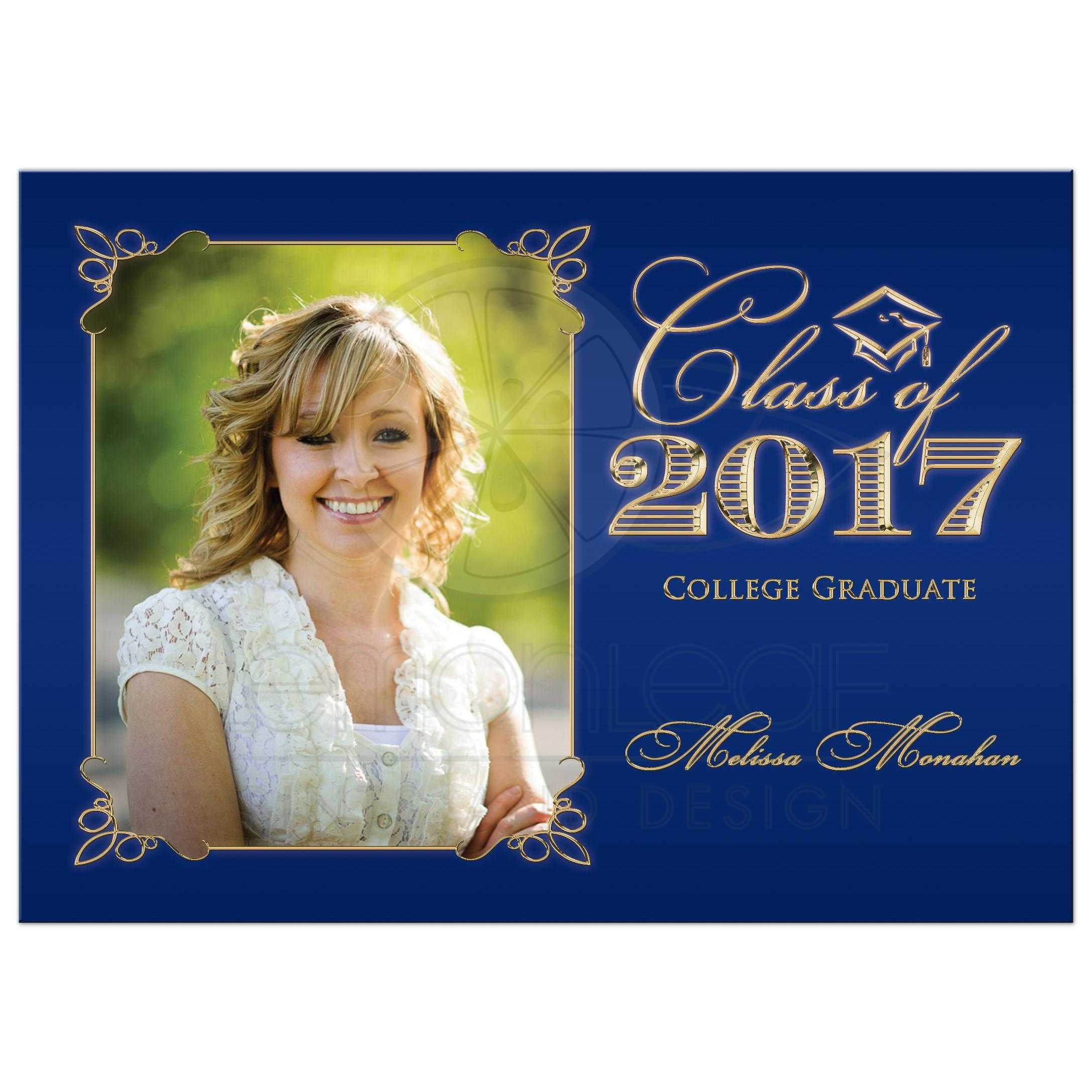 Elegant Navy Blue And Gold Photo Graduation Invitation