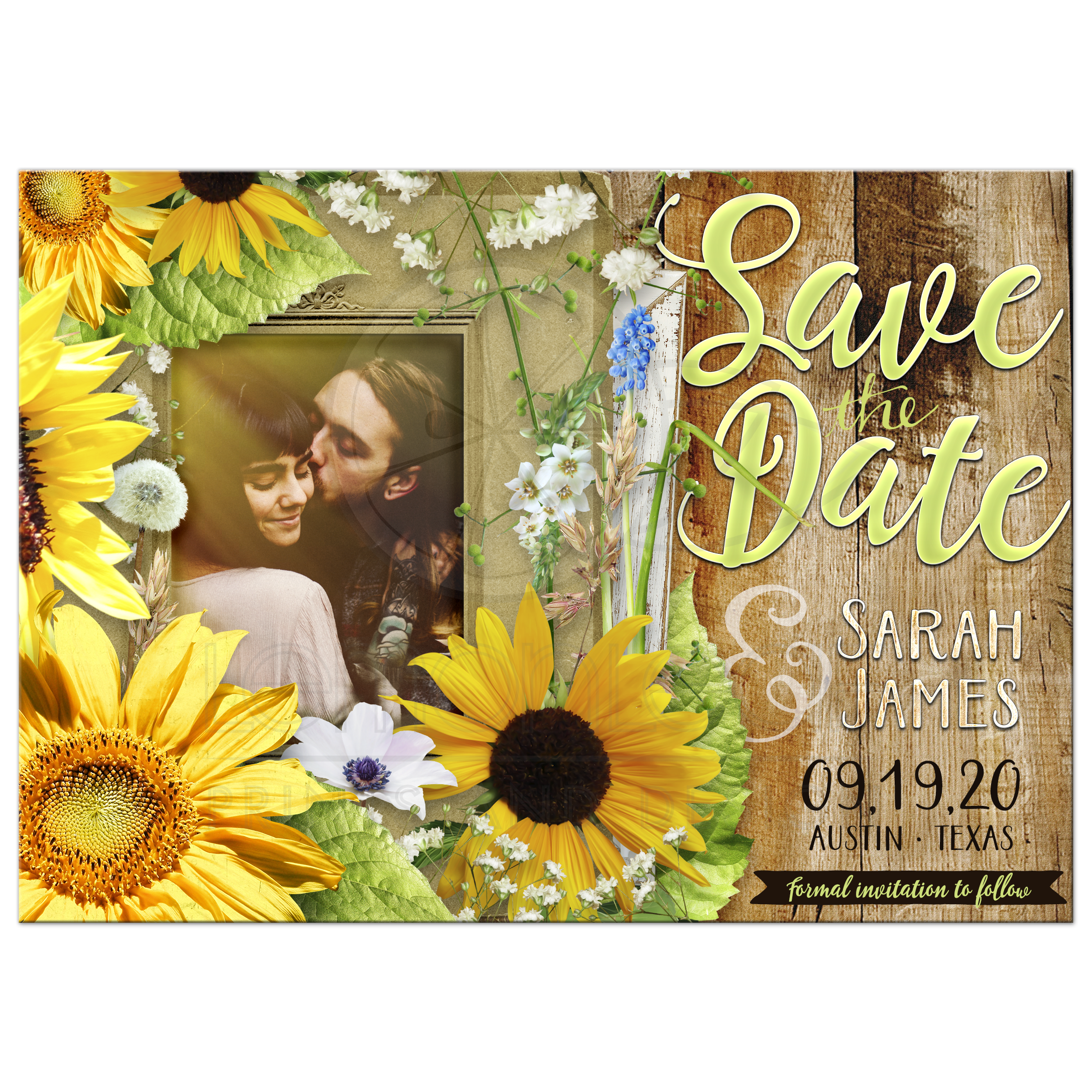 Sunflower And Babys Breath Save The Date