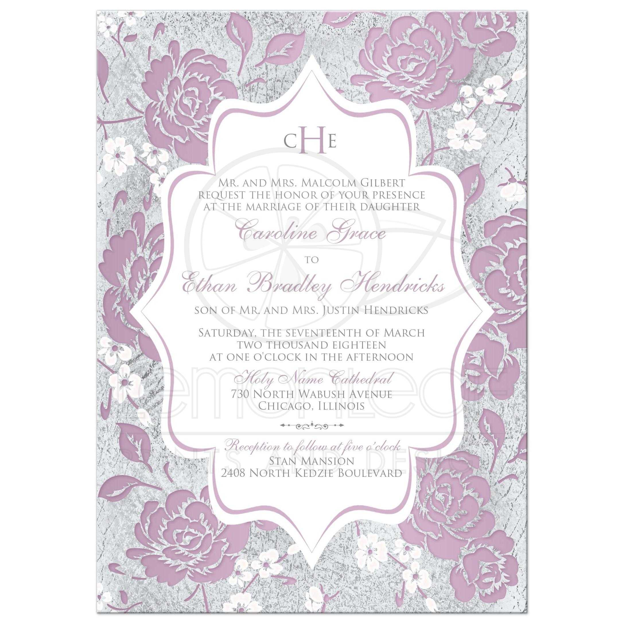 Mauve floral monogrammed wedding invitation vintage purple pink white and silver grey floral wedding invitation with monogram and monicamarmolfo Choice Image