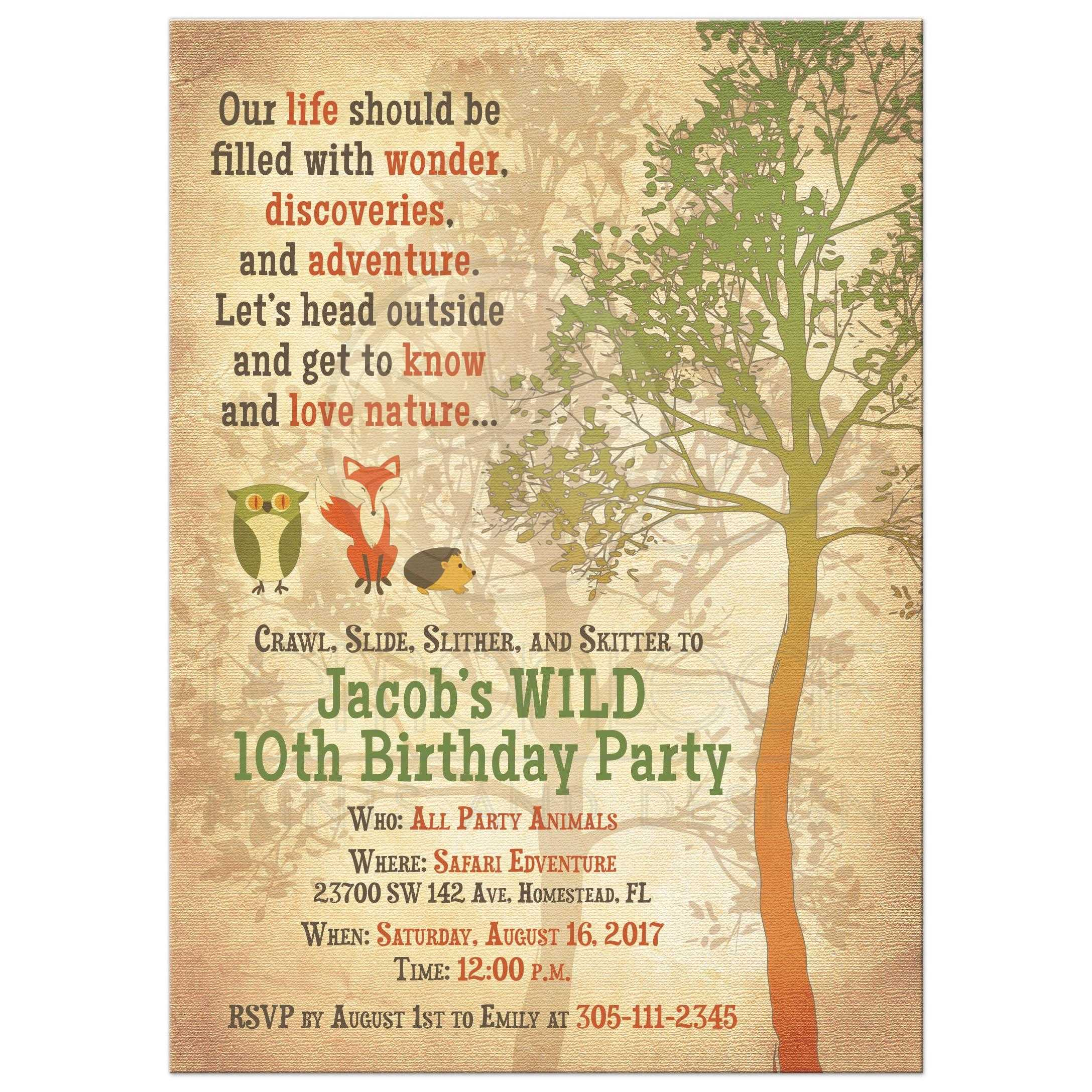 Woodland Forest Nature Kid S Birthday Invitation
