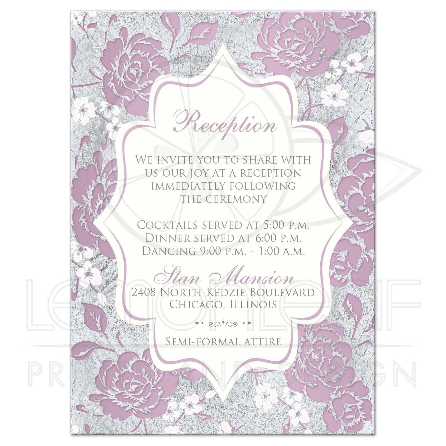 Mauve Silver Gray White Floral Wedding Reception Enclosure Card