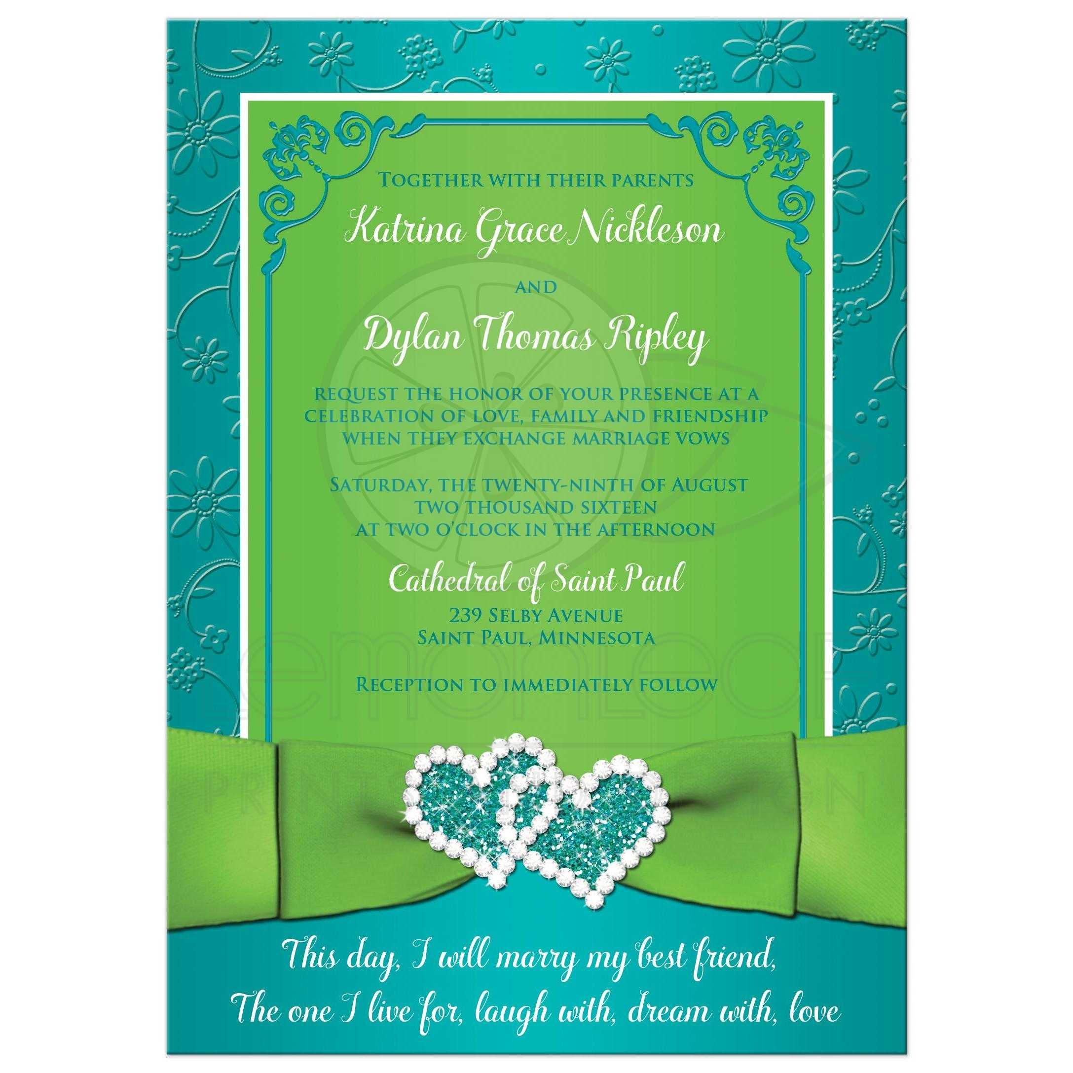 turquoise lime floral wedding invitation printed ribbon bow