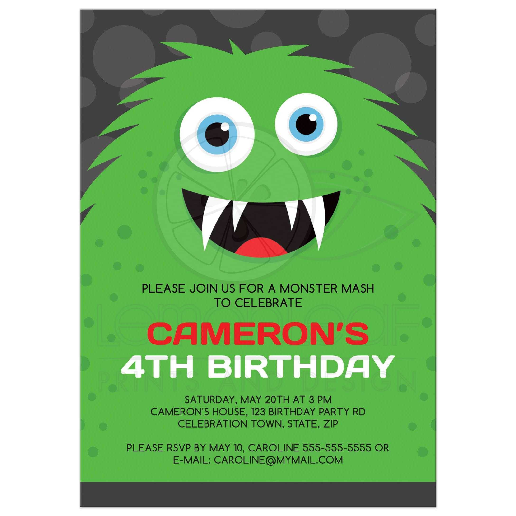 monster party invitations with green monster