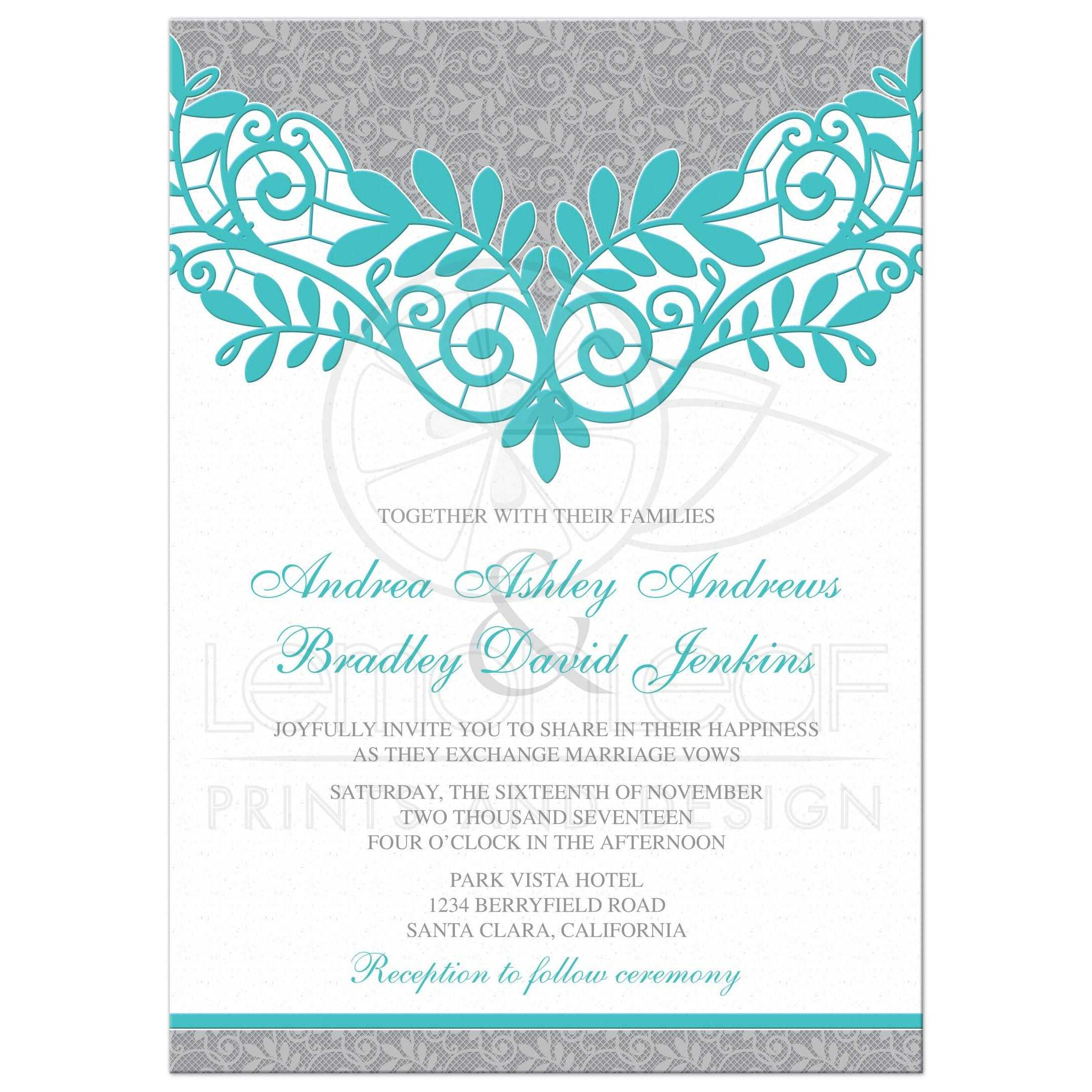 Elegant Turquoise And Silver Grey Lace Wedding Invitation