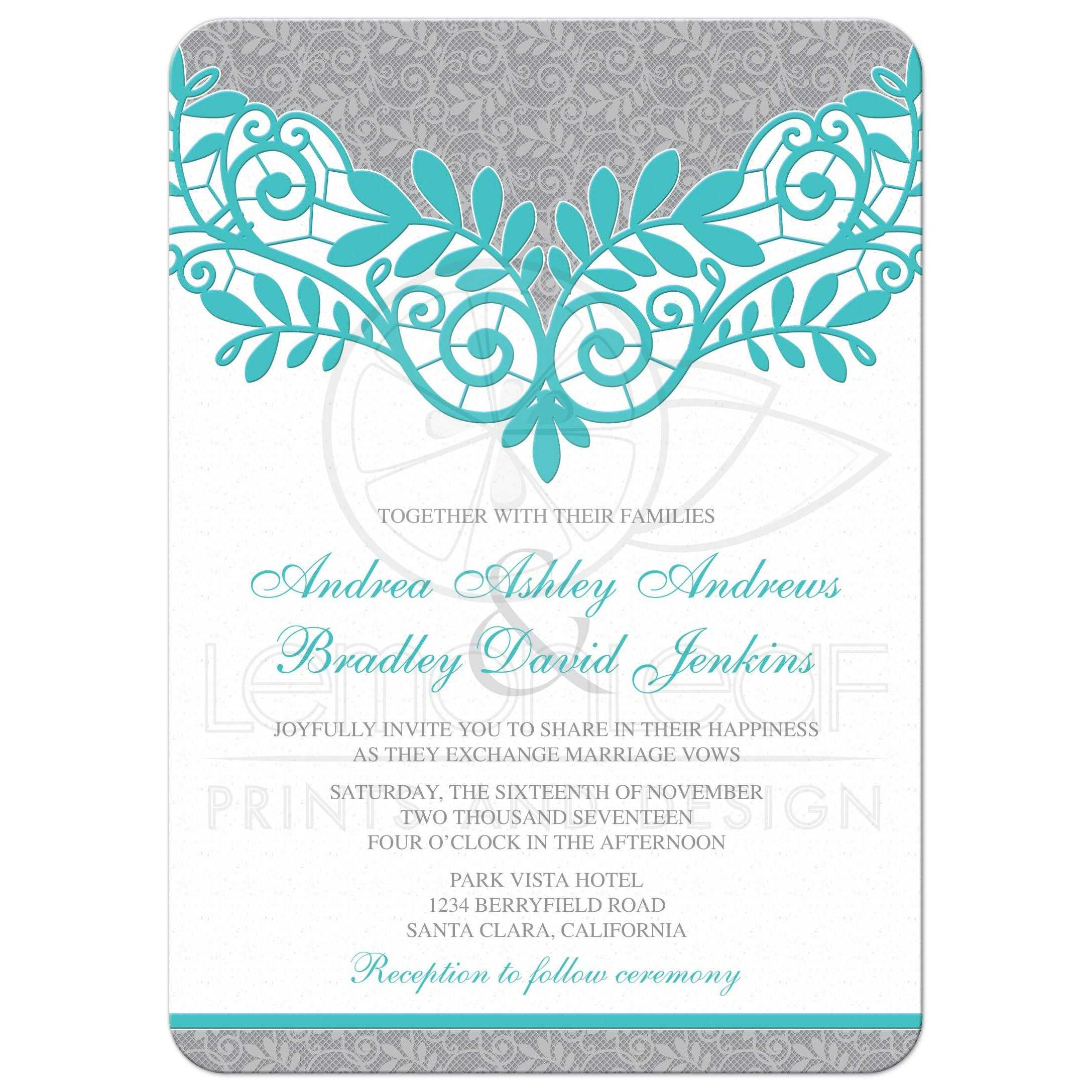 turquoise silver wedding invitation silver grey and turquoise lace