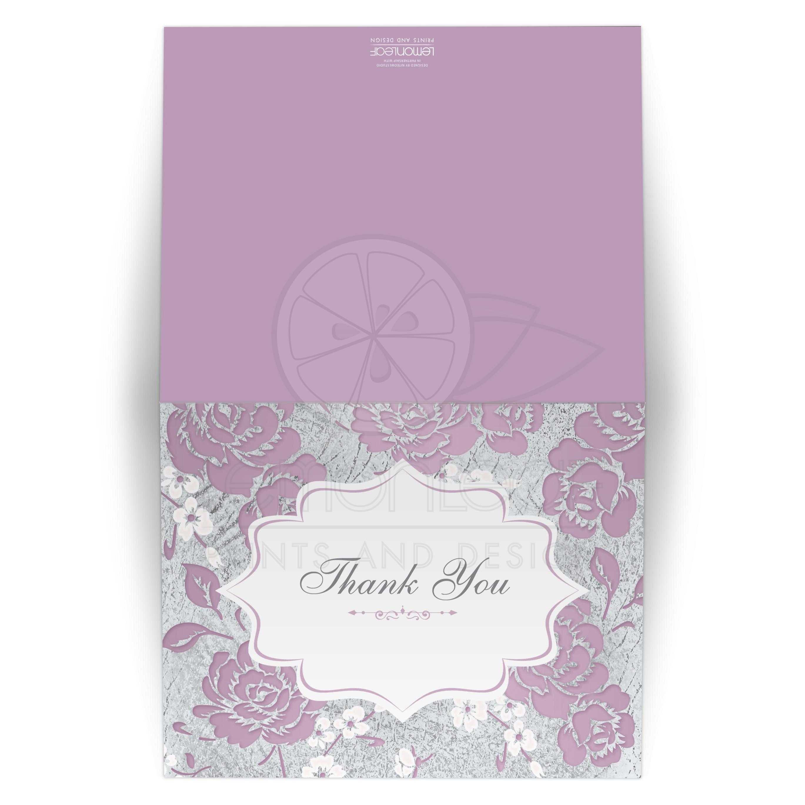 Lilac Purple Silver Gray White Floral Thank You Card Blank