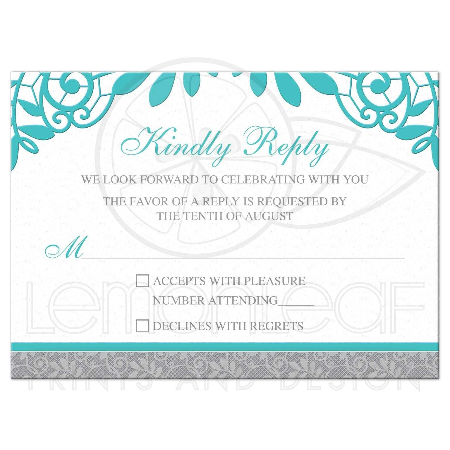 Turquoise Silver Wedding RSVP Card Silver Grey and Turquoise Lace