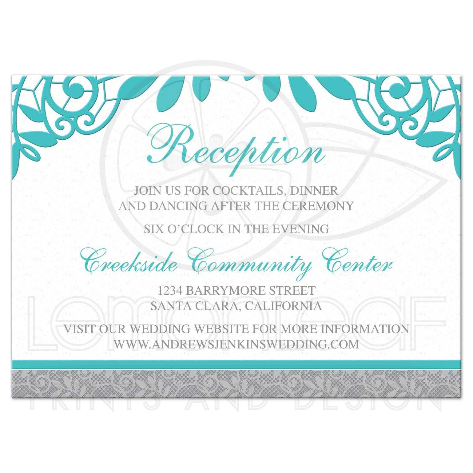 turquoise silver wedding reception card silver grey and turquoise lace