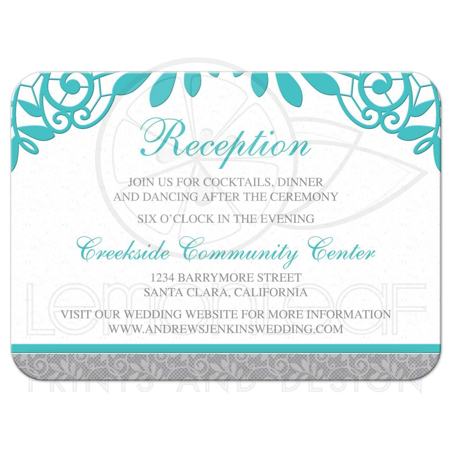 Turquoise Silver Wedding Reception Card Silver Grey And