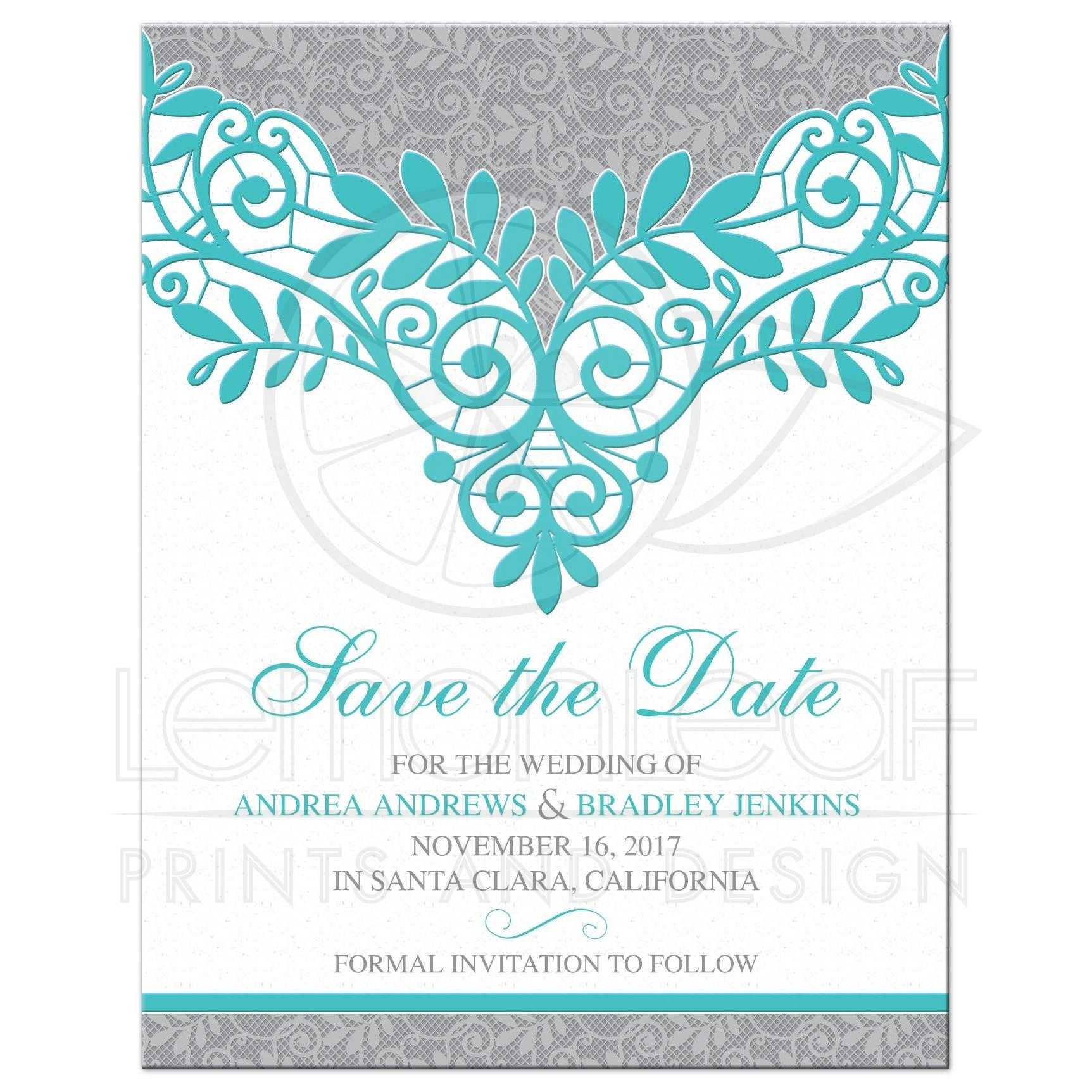 Turquoise Silver Wedding Save the Date Silver Grey and Turquoise Lace