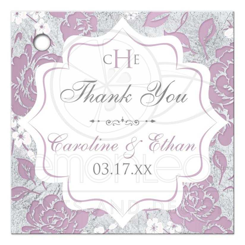 Personalized Lilac Purple Grey White Silver Floral Wedding Favor