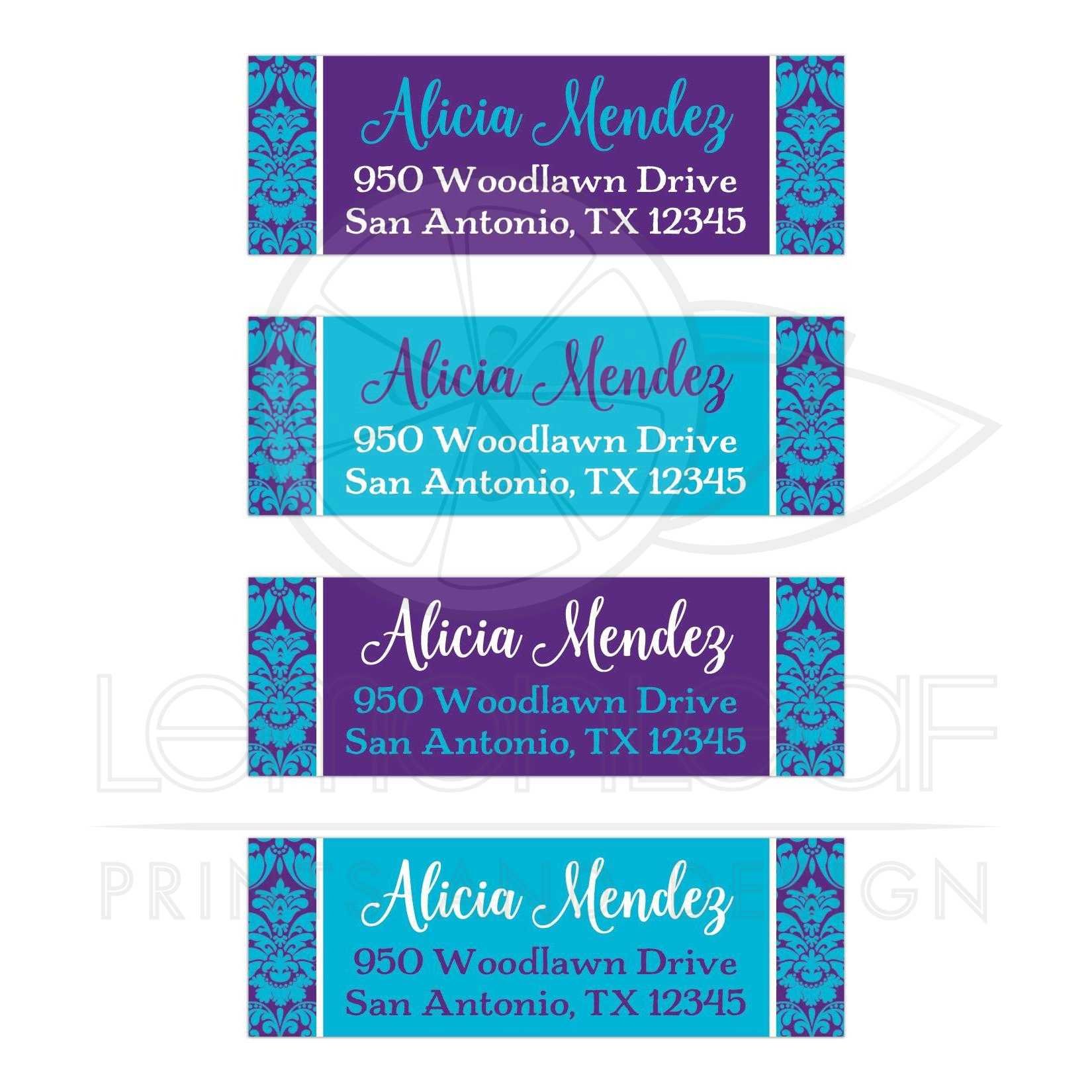 customizable teal blue purple white damask return address labels