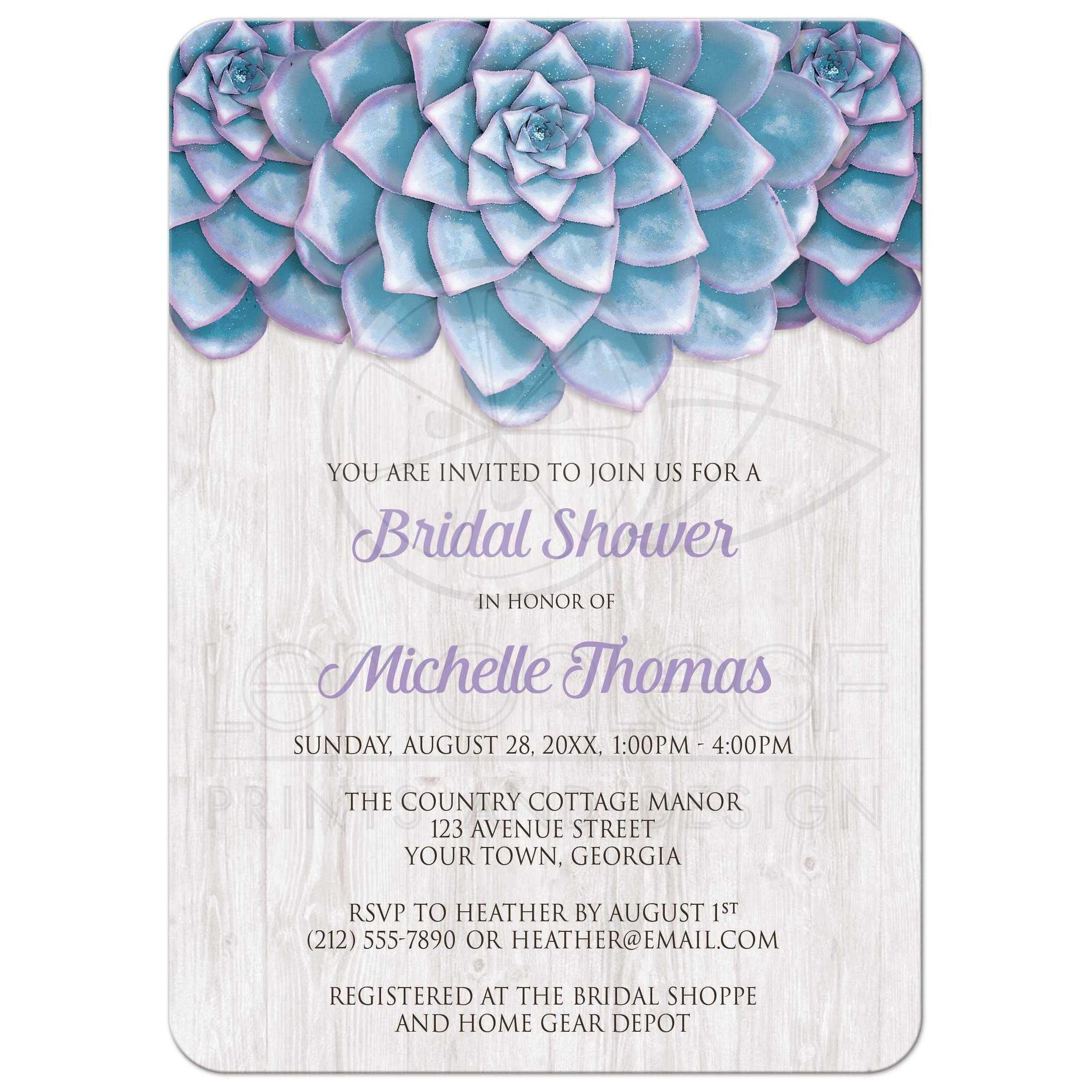 Bridal Shower Invitations Blue Purple Succulent Whitewashed Wood