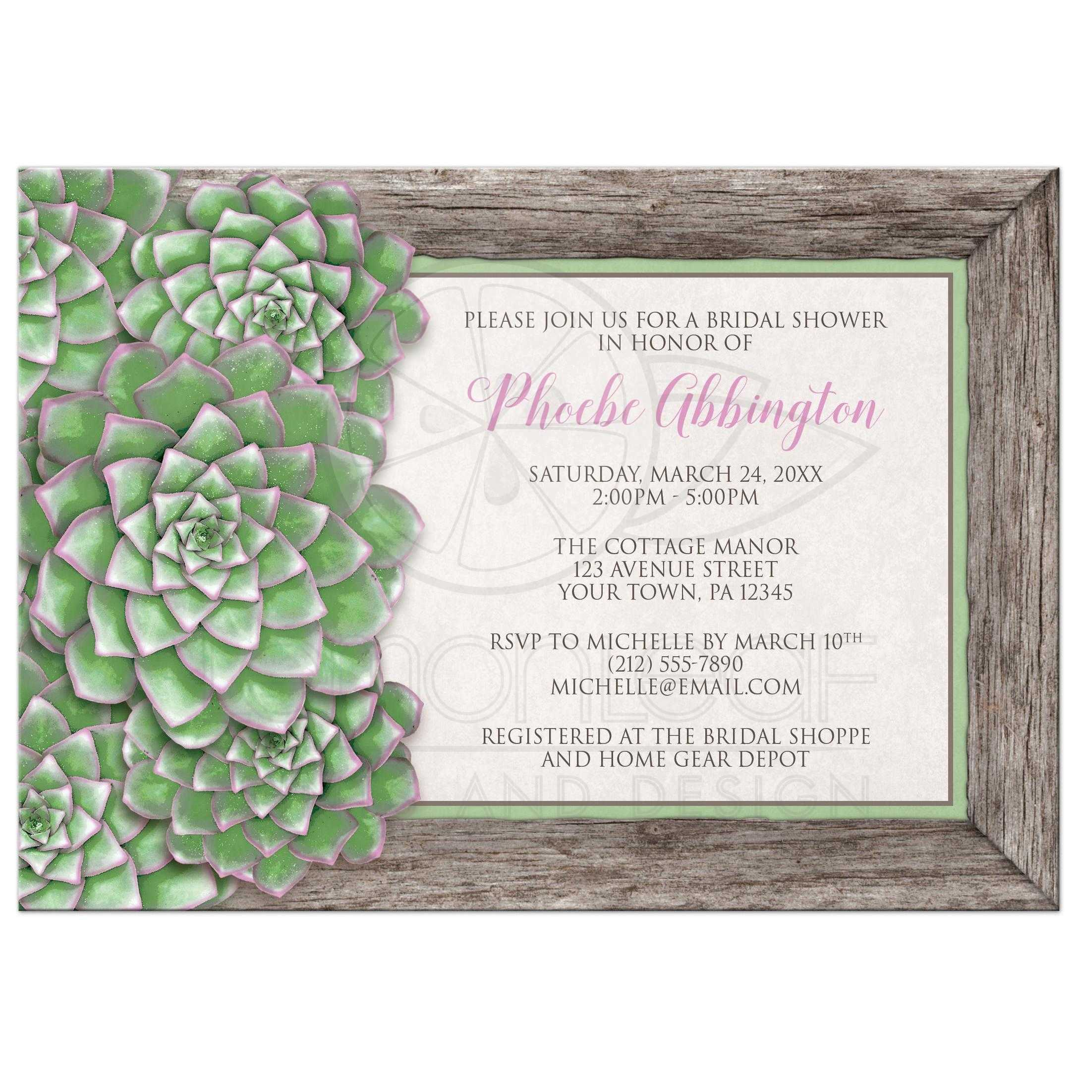 Bridal Shower Invitations Green And Pink Succulent Wood
