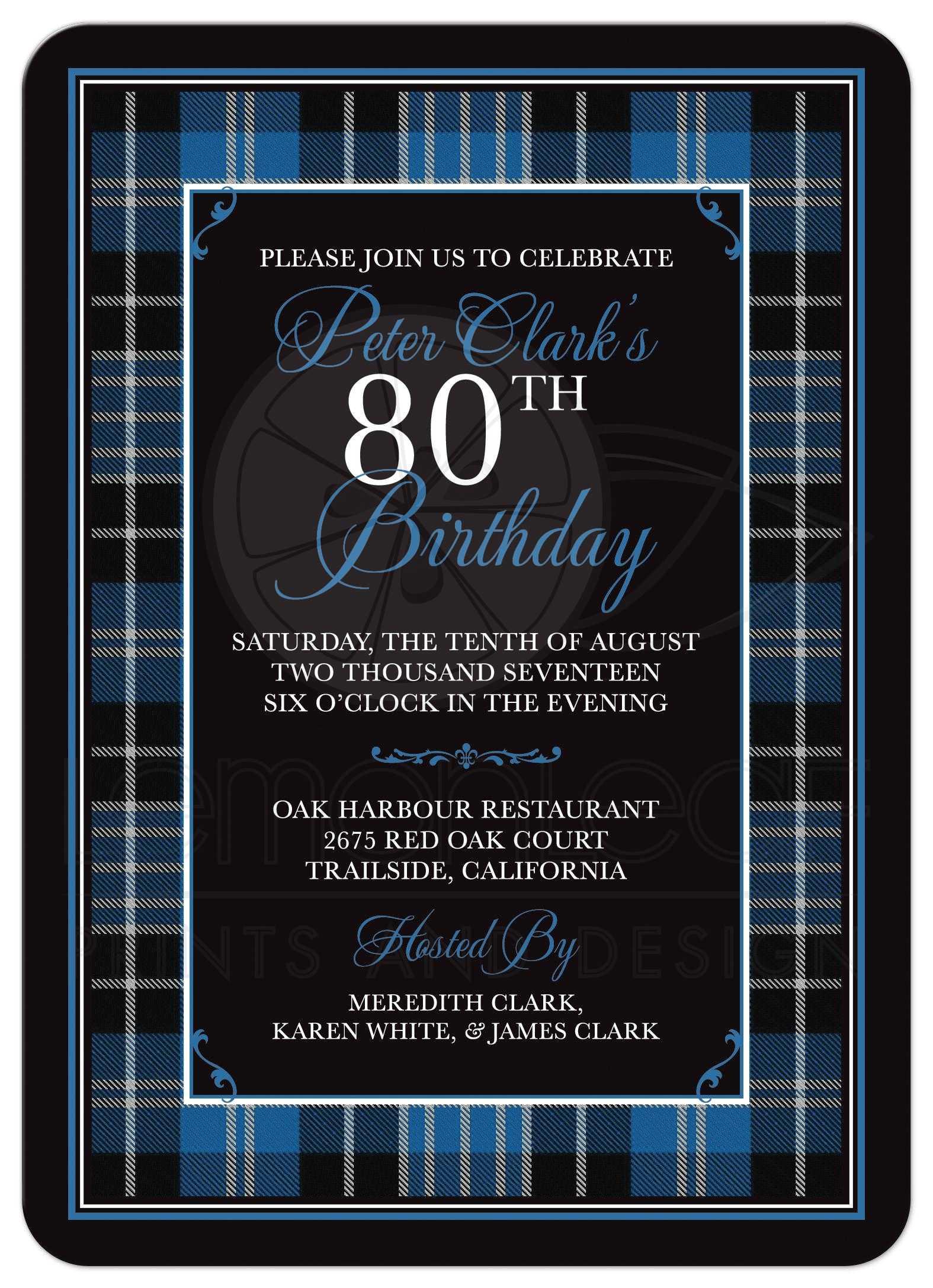 Scottish Clark Tartan 80th Birthday Invitation