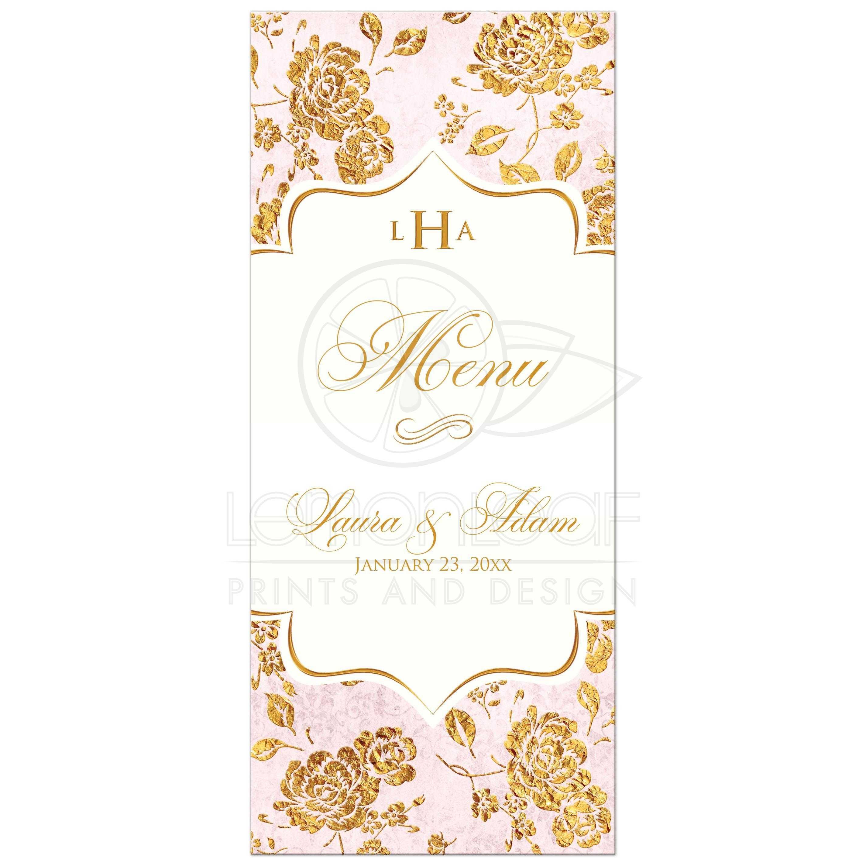 Monogrammed vintage floral wedding menu gold leaf faux flowers monogrammed blush pink ivory and gold floral wedding menu card junglespirit Images