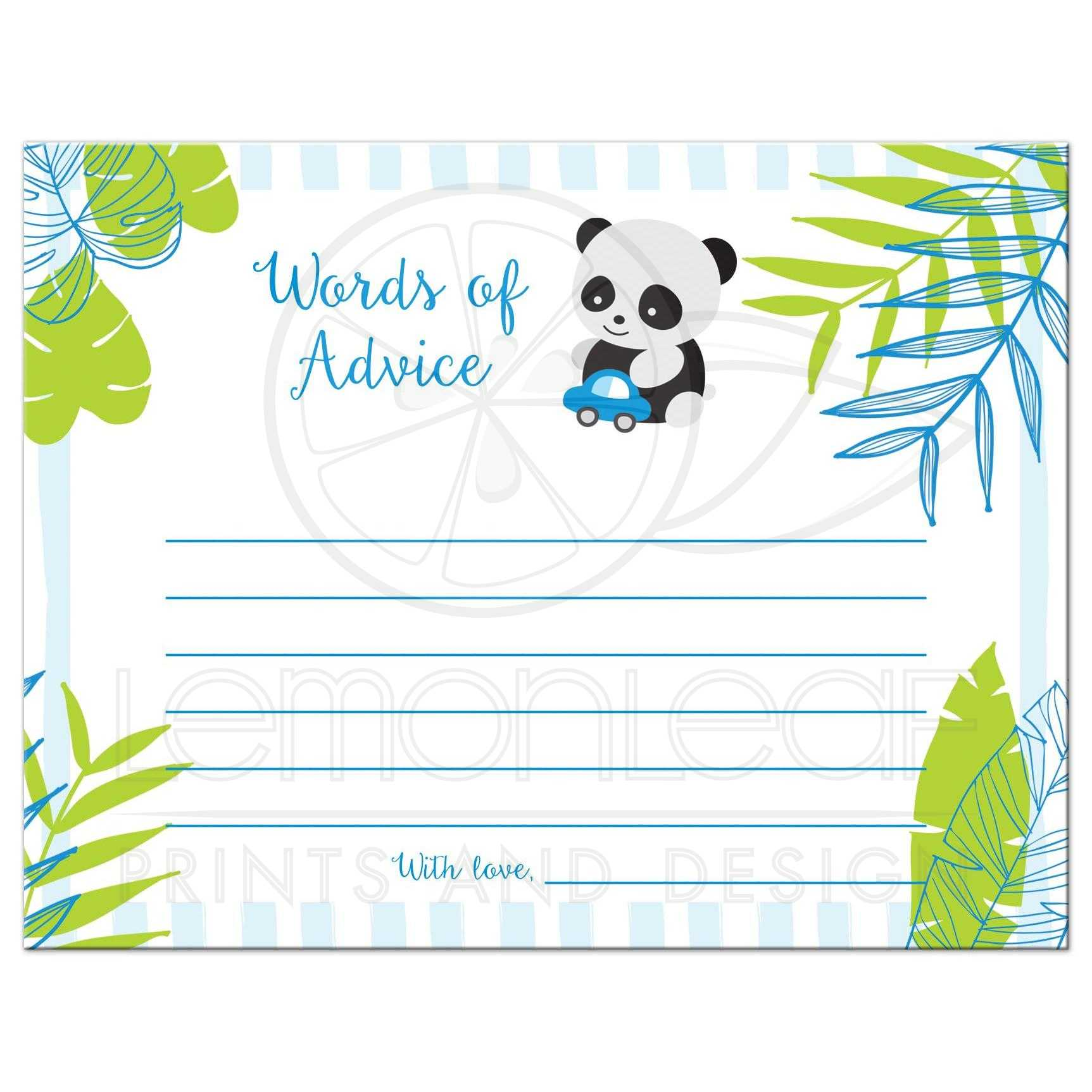 Tropical Panda Boy Baby Shower Advice Cards