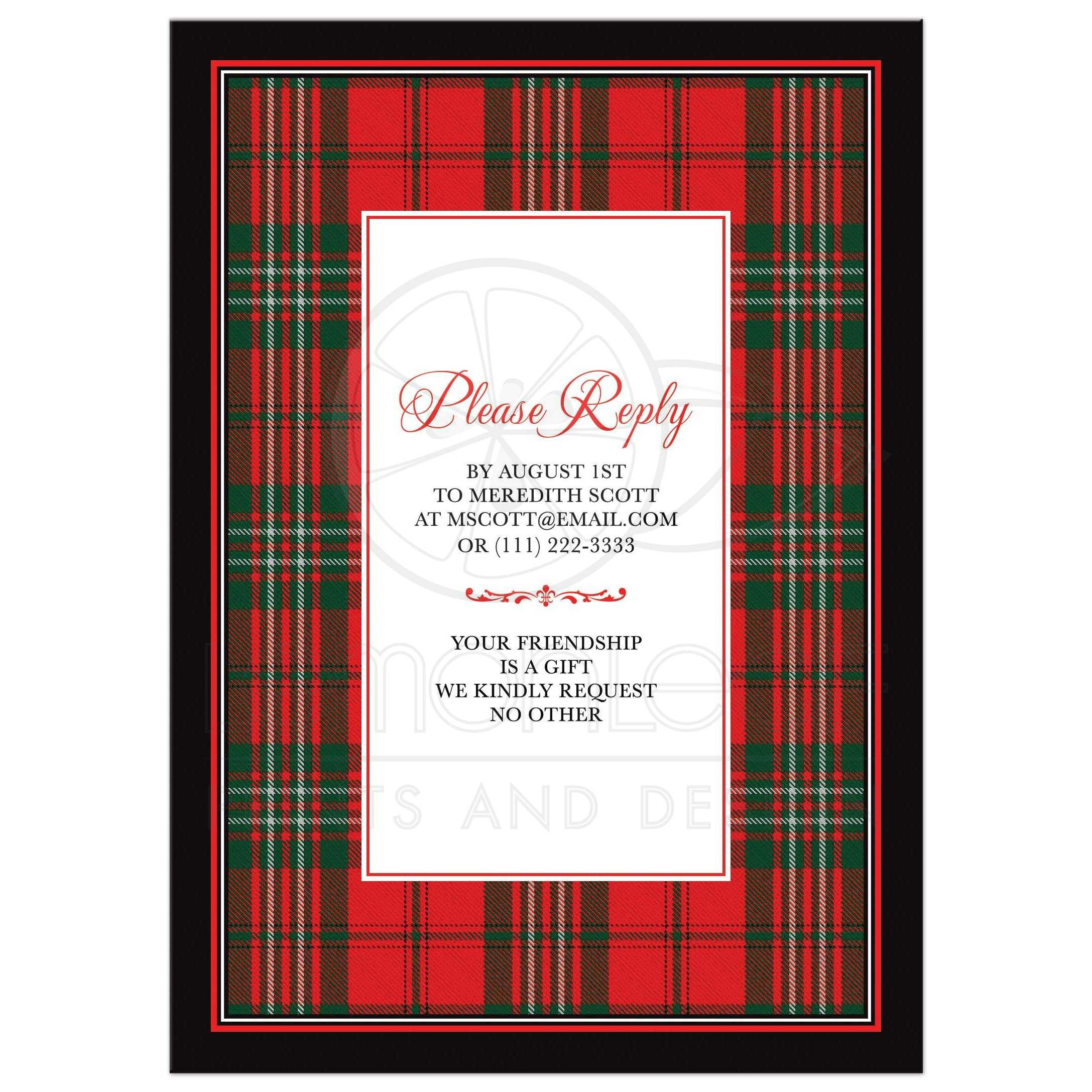 Scottish Clan Scott Tartan 80th Birthday Invitation