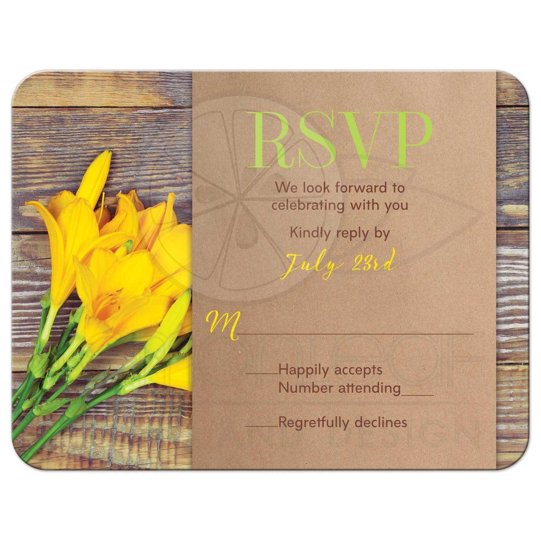 yellow lily rustic wood wedding rsvp card