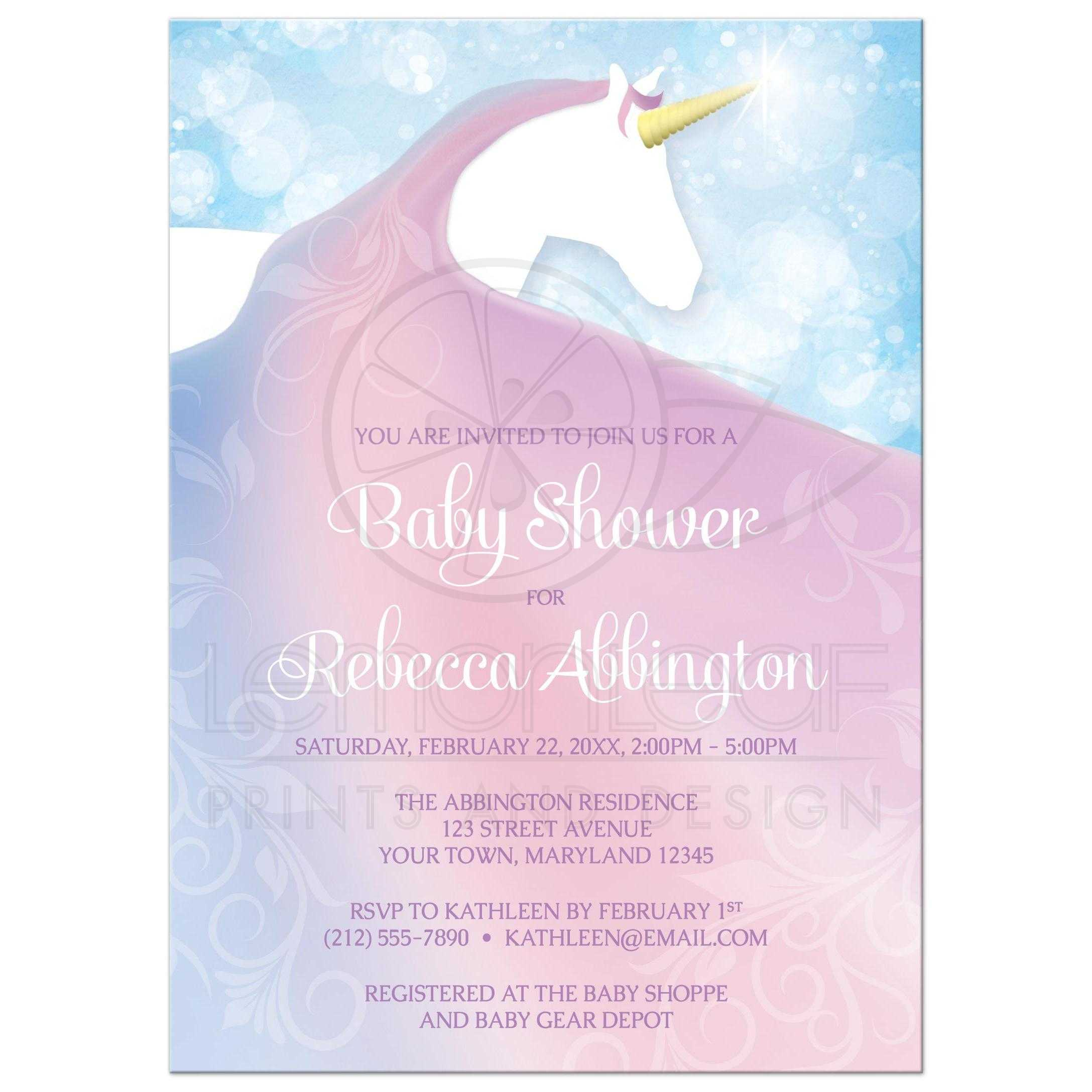 Baby shower invitations magical unicorn in pink blue and purple filmwisefo